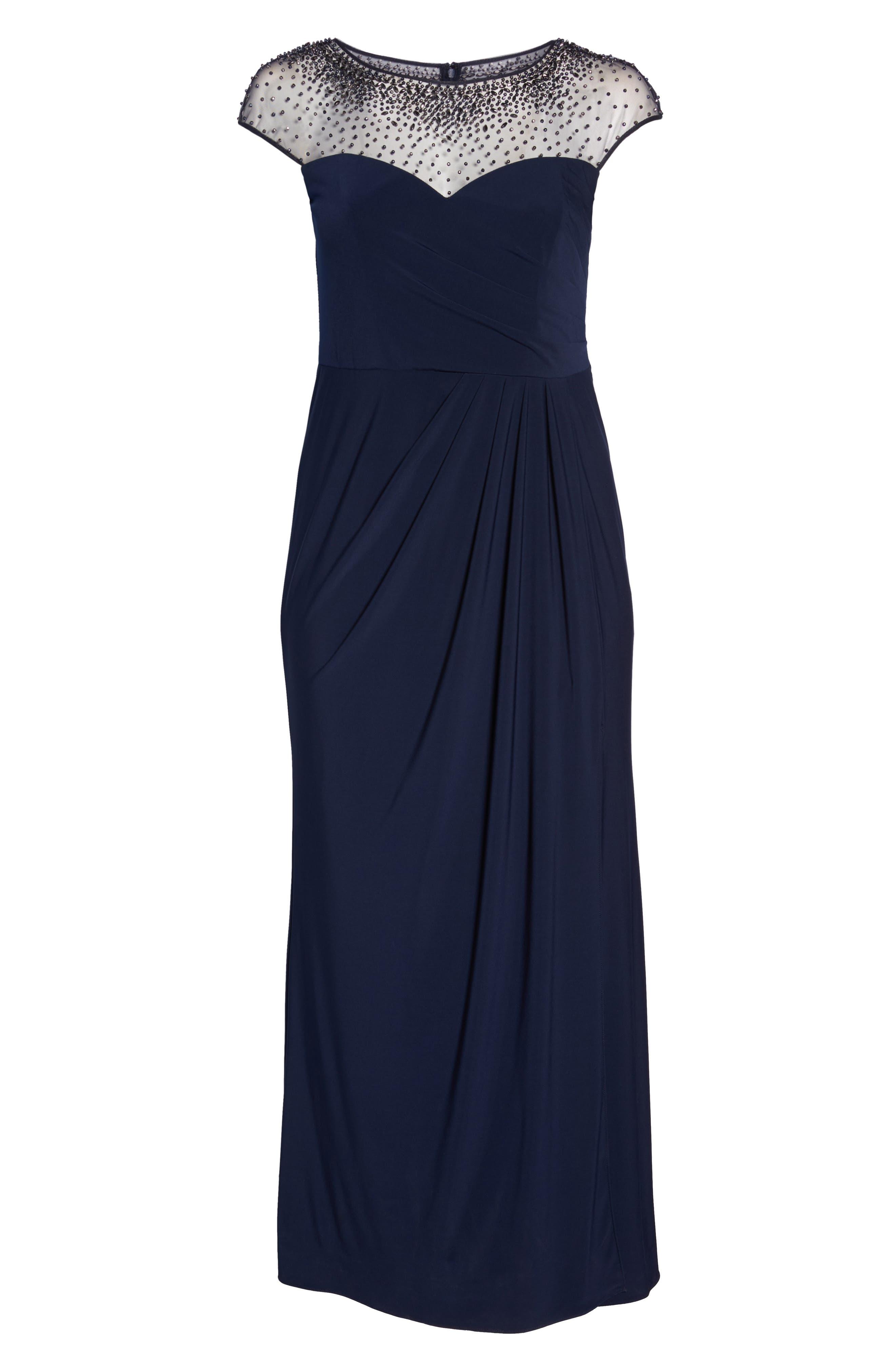 Beaded Faux Wrap Gown,                             Alternate thumbnail 6, color,                             Navy/ Gunmetal