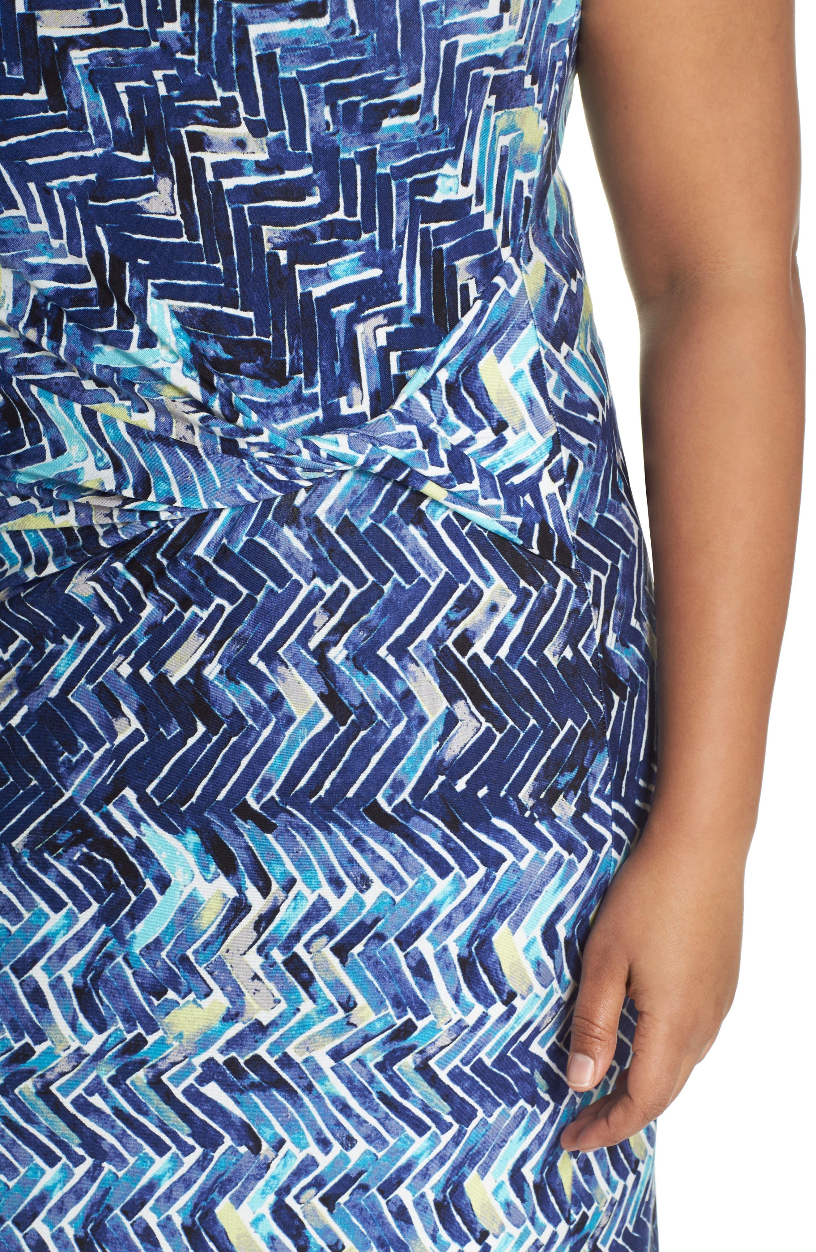 Seaside Tile Ruched Sheath Dress,                             Alternate thumbnail 4, color,                             Multi