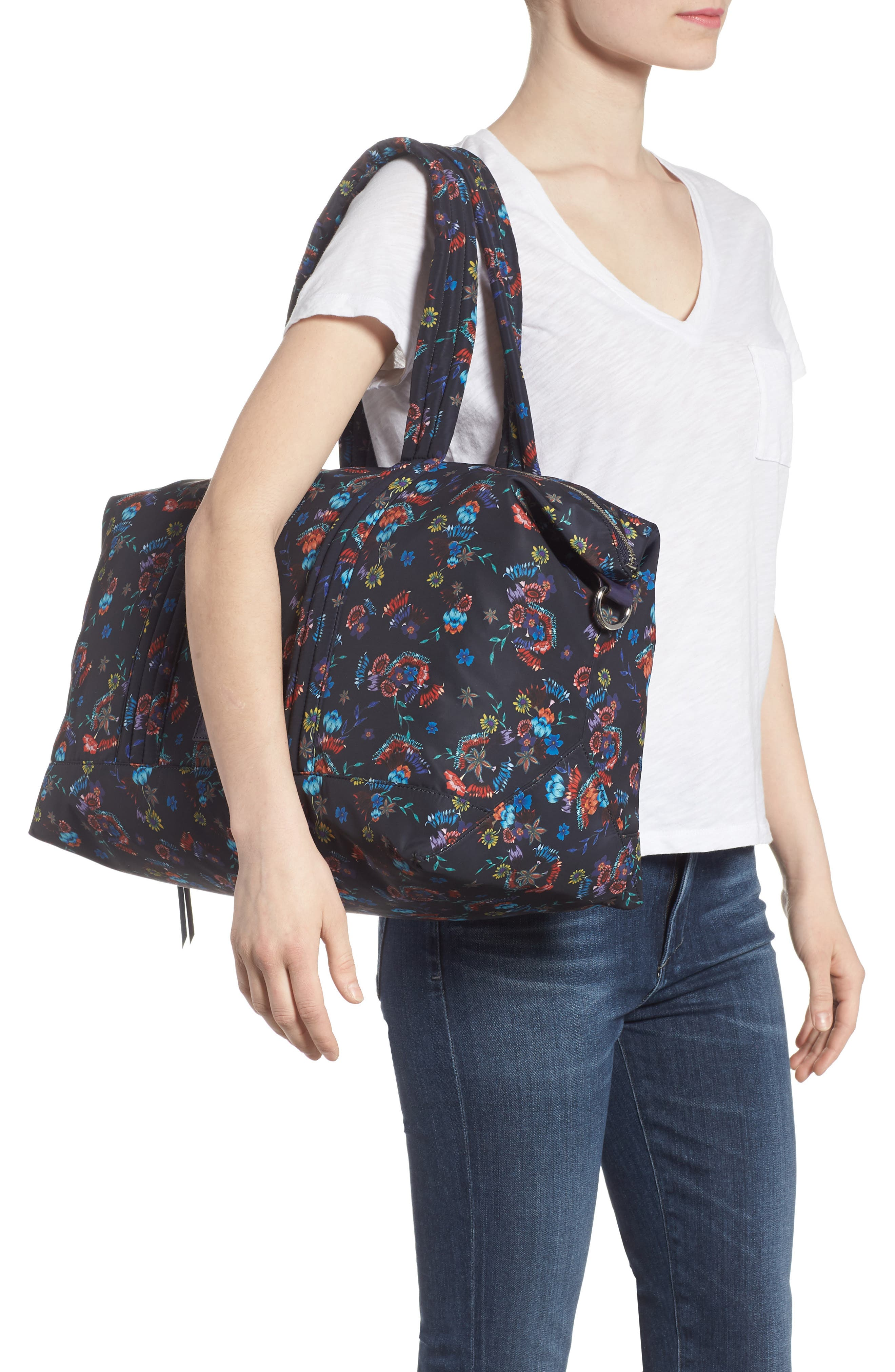Weekend Nylon Duffel Bag,                             Alternate thumbnail 2, color,                             Floral Blue