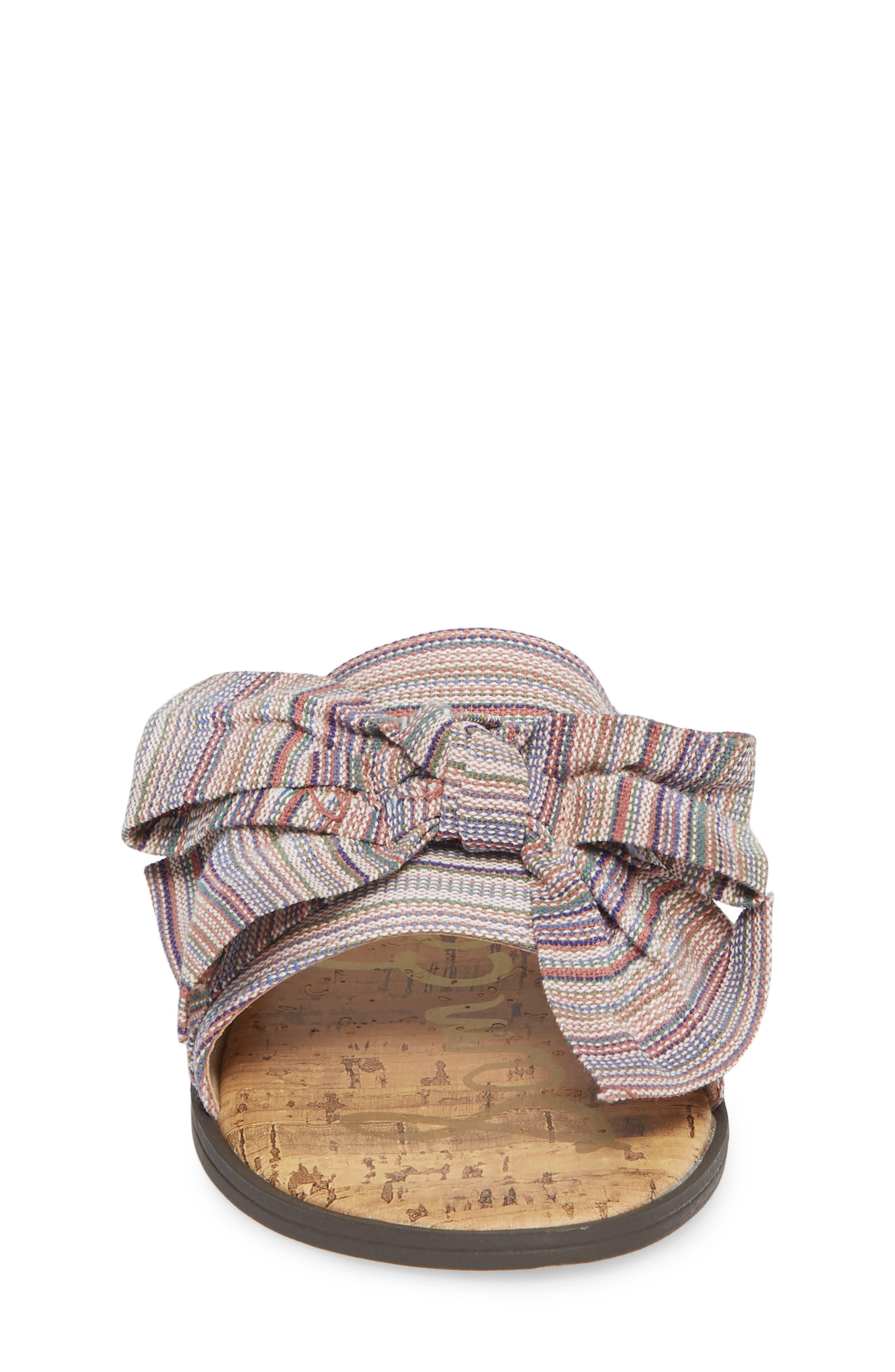 Gigi Bow Faux Leather Sandal,                             Alternate thumbnail 4, color,                             Tan Multi Fabric