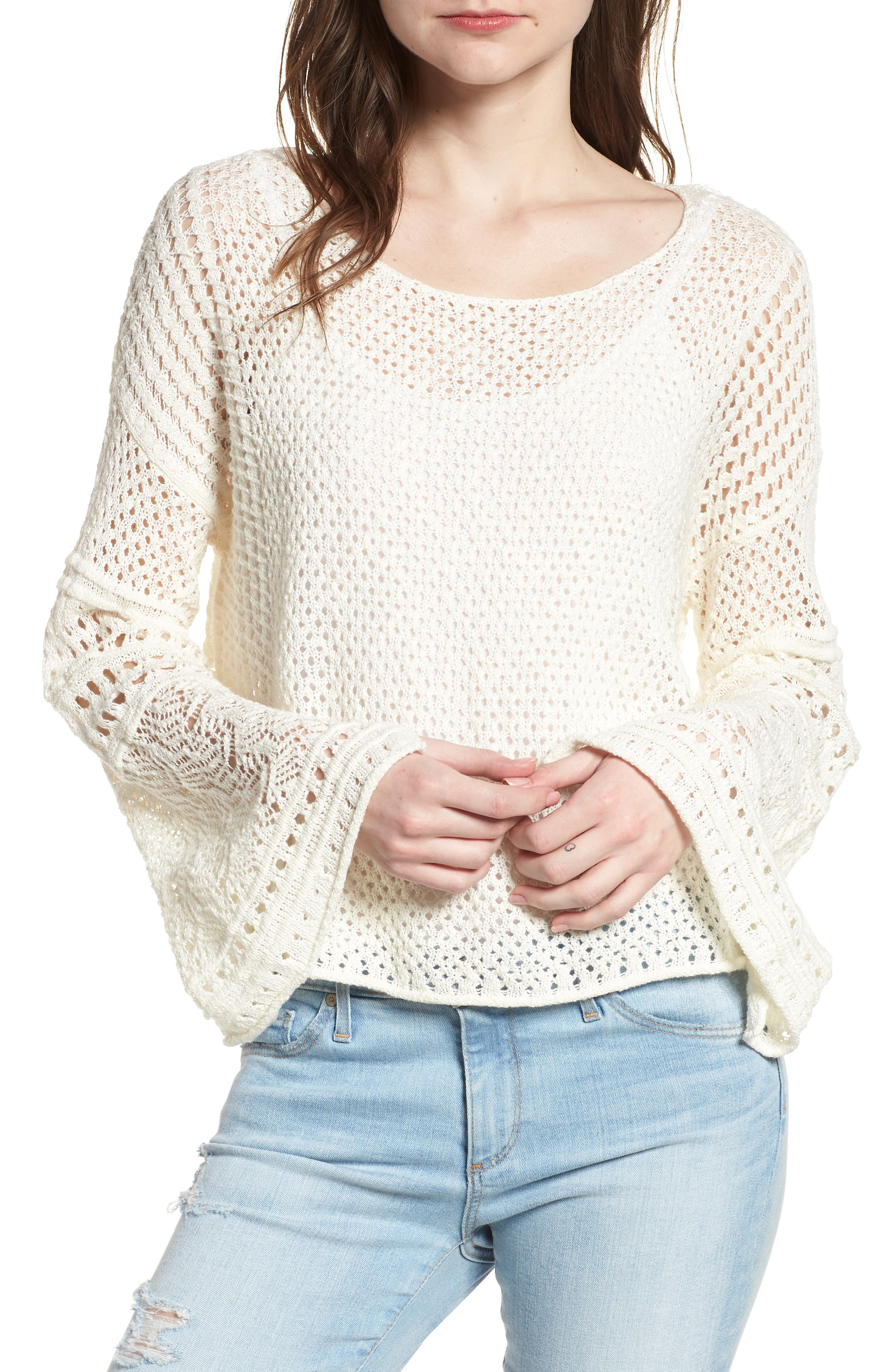 1.STATE Pointelle Stitch Bell Sleeve Sweater