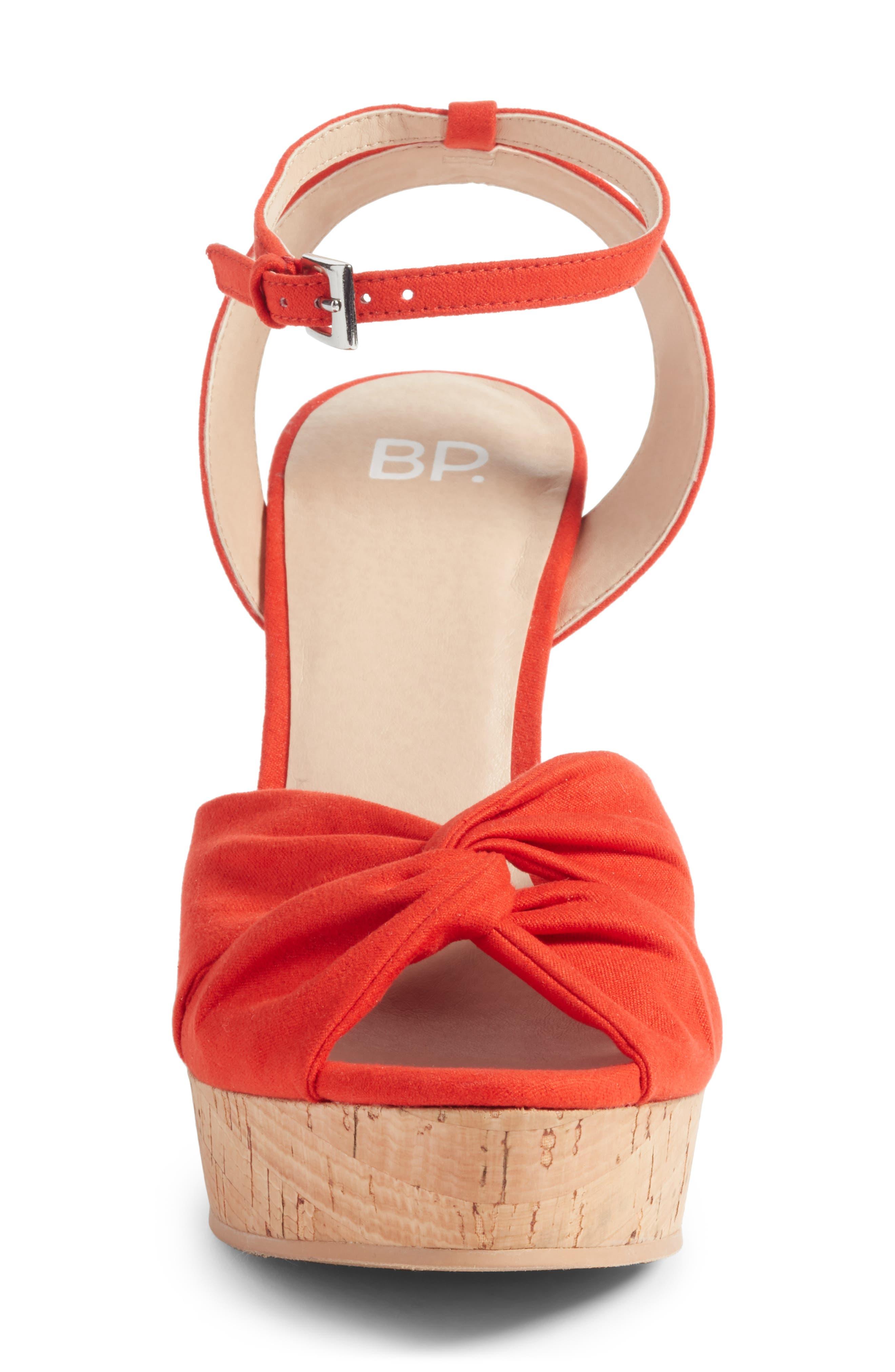 Arya Platform Wedge Sandal,                             Alternate thumbnail 4, color,                             Poppy Faux Suede