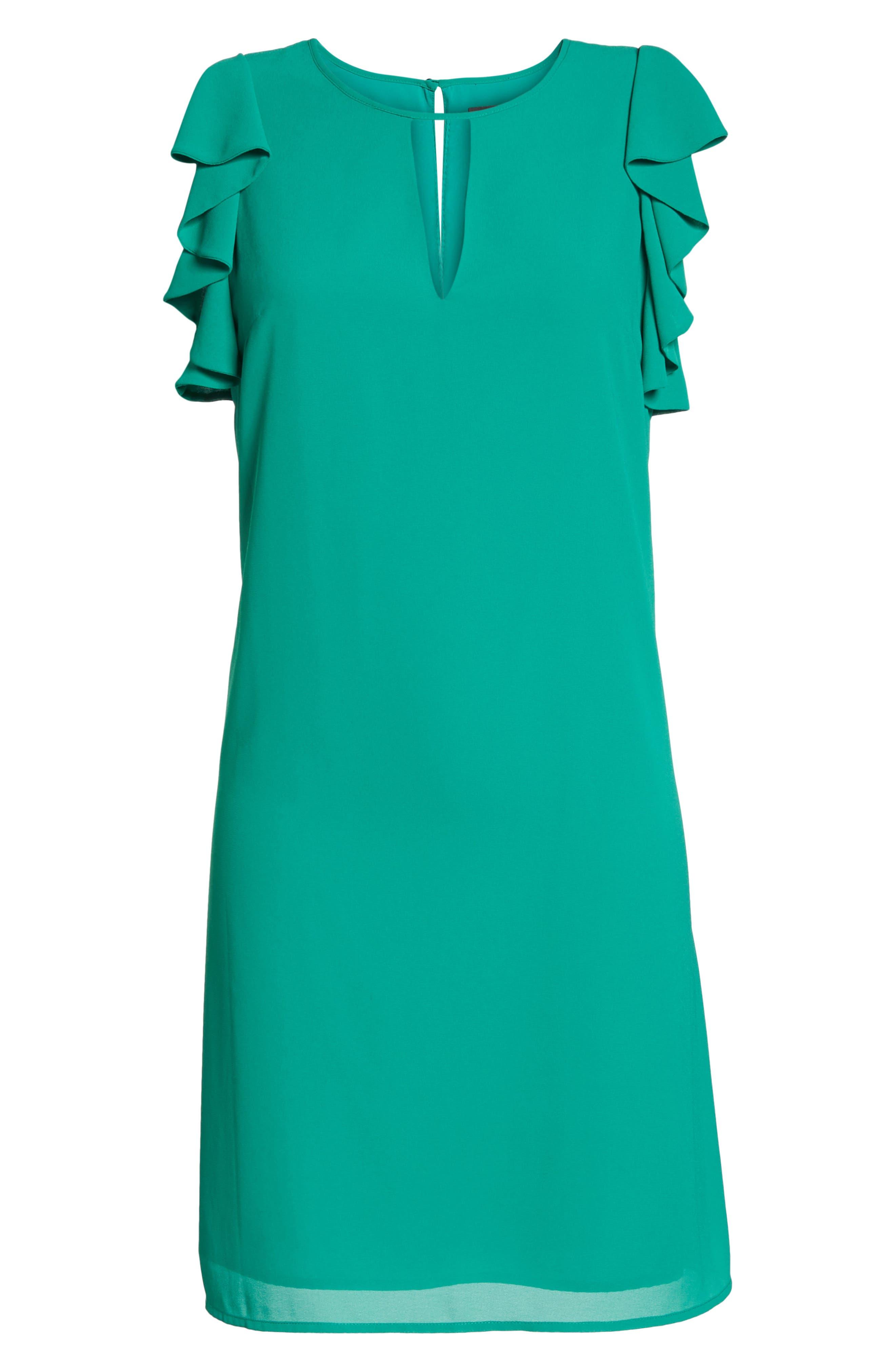 Soufflé Ruffle Chiffon Shift Dress,                             Alternate thumbnail 7, color,                             Green