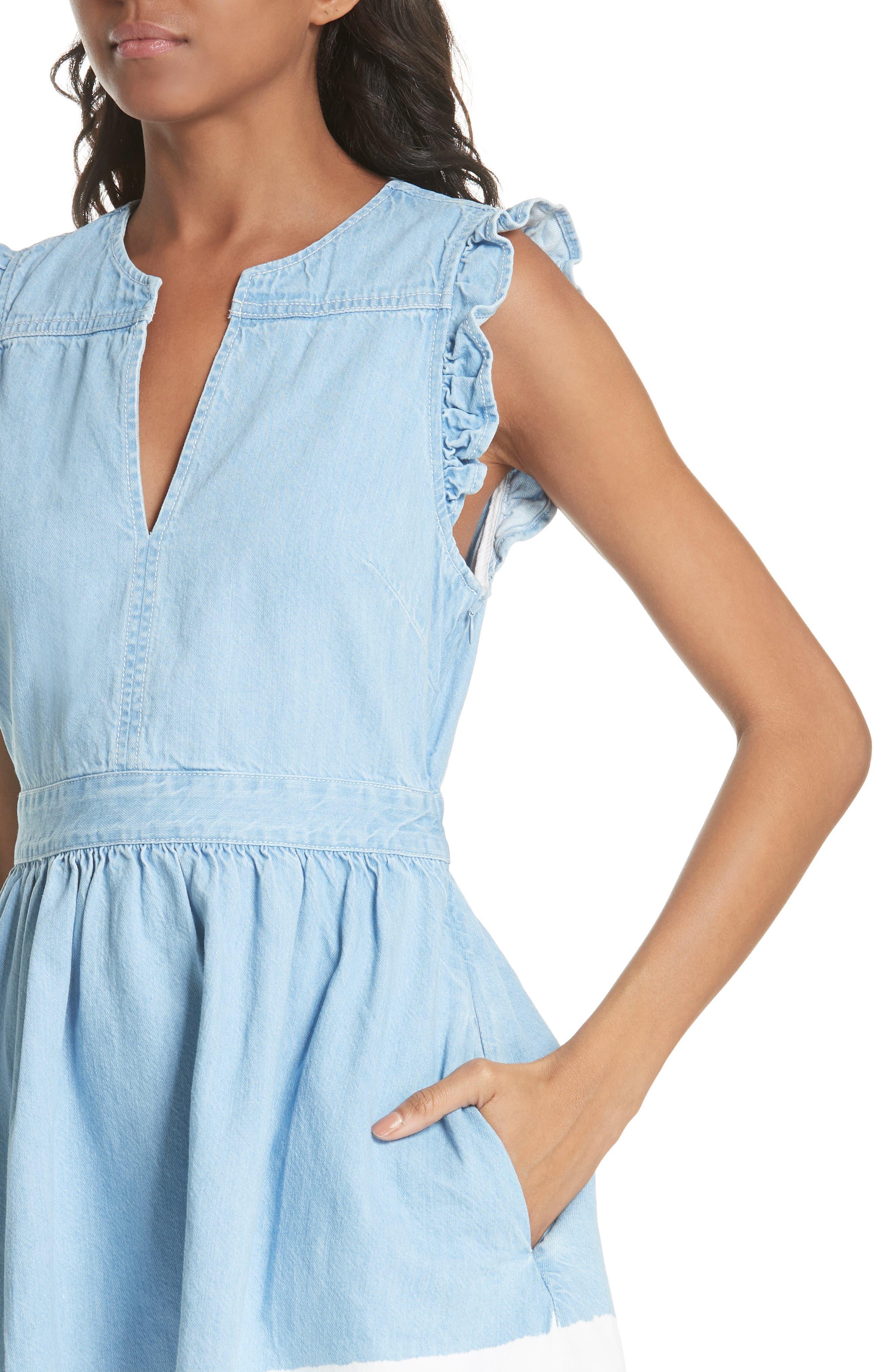 dip dye denim dress,                             Alternate thumbnail 4, color,                             Indigo