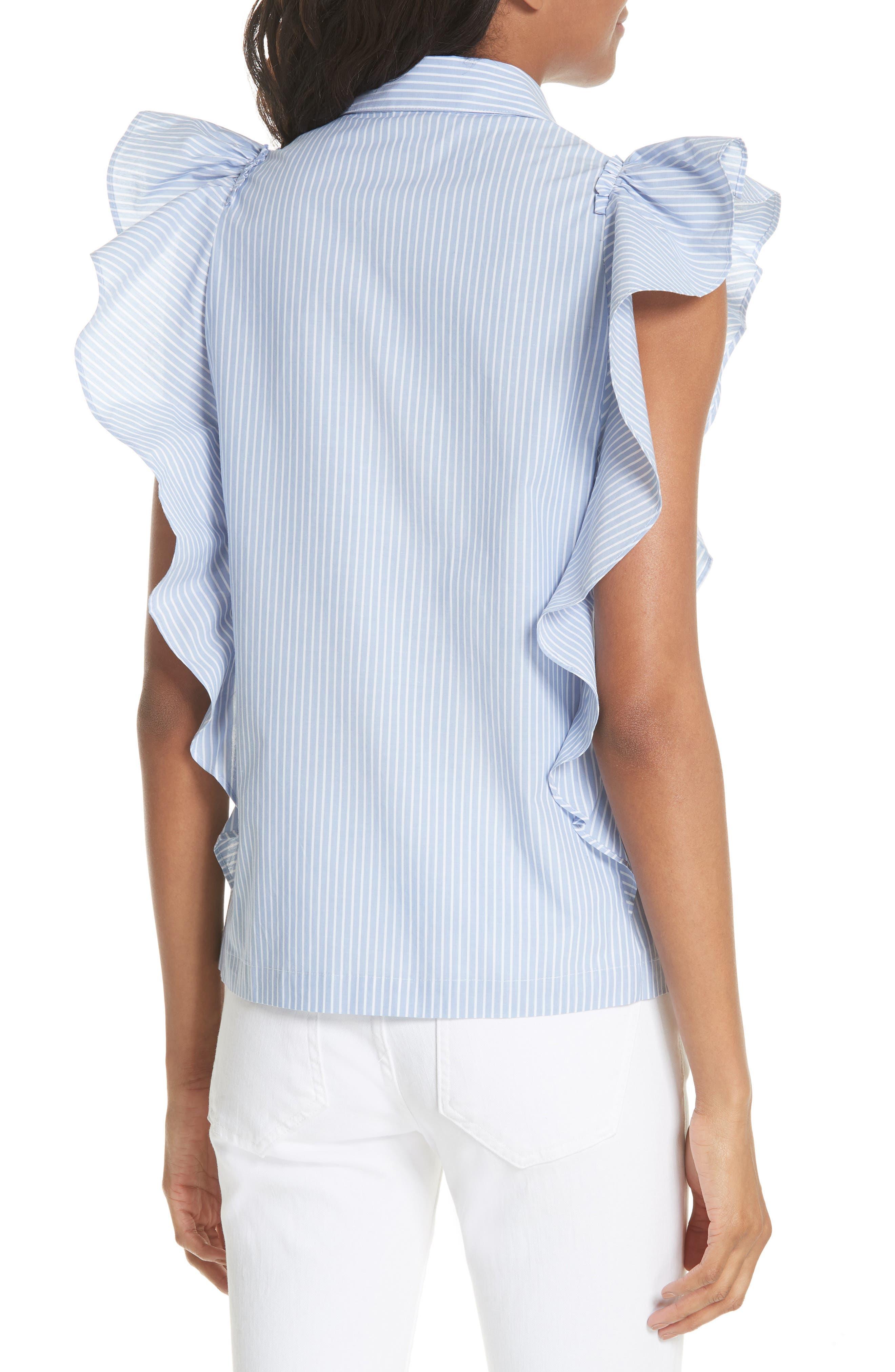 flutter sleeve stripe cotton blouse,                             Alternate thumbnail 2, color,                             Manatee/ Fresh White