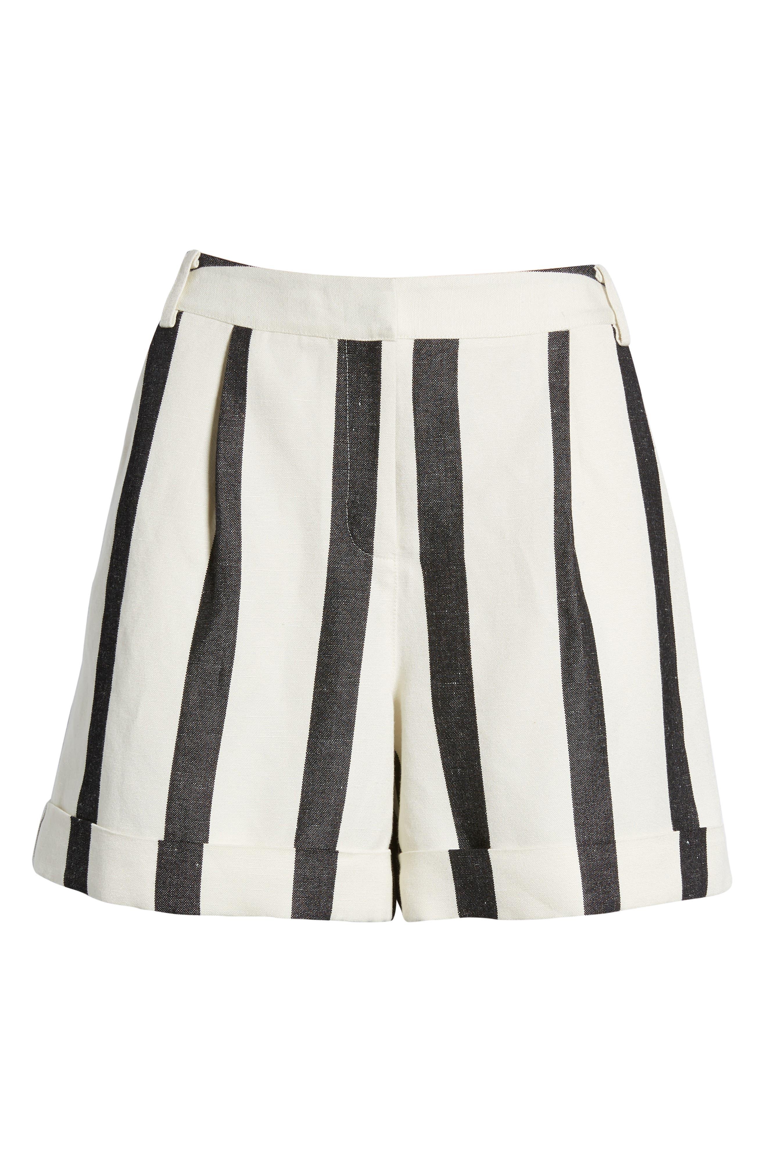 Stripe Cuff Shorts,                             Alternate thumbnail 6, color,                             Black- Ivory Bold Stripe