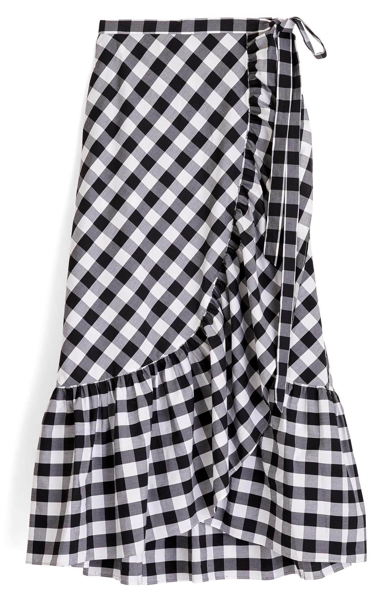 Gingham Ruffle Wrap Skirt,                             Alternate thumbnail 4, color,                             Black