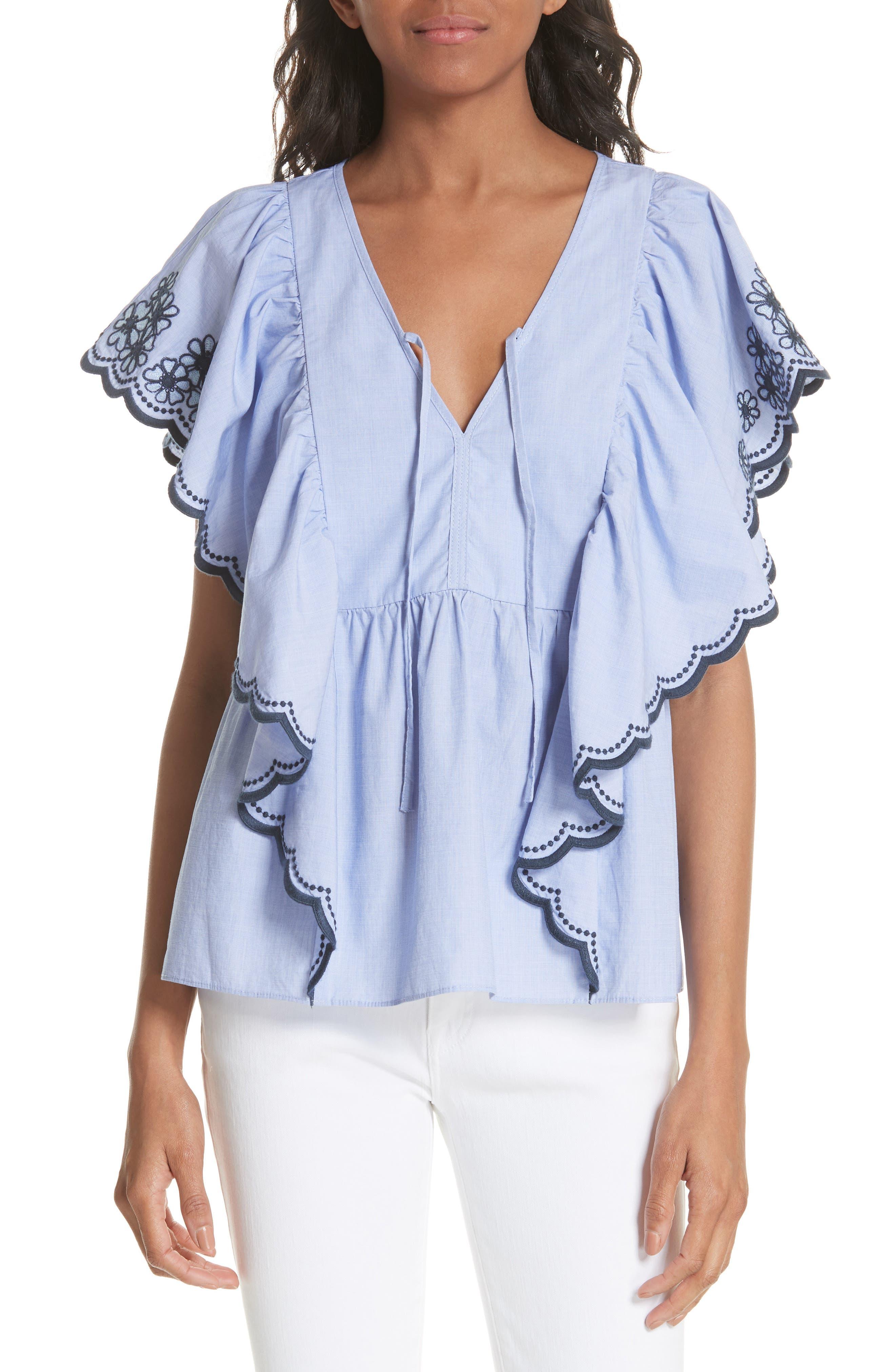 daisy embroidered cotton top,                         Main,                         color, Ensemble Blue