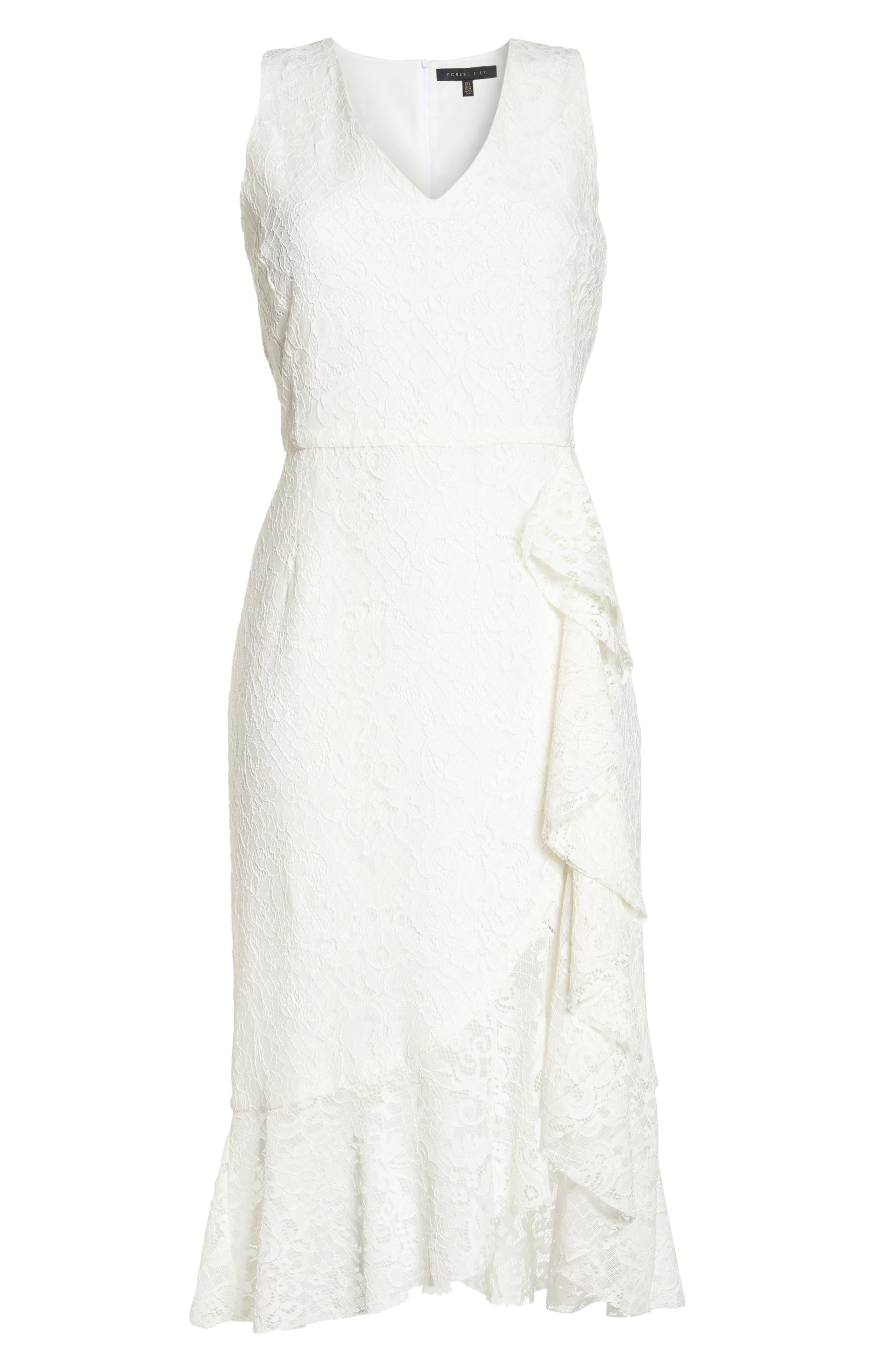 Sleeveless Flounce Hem Dress,                             Alternate thumbnail 7, color,                             Off White