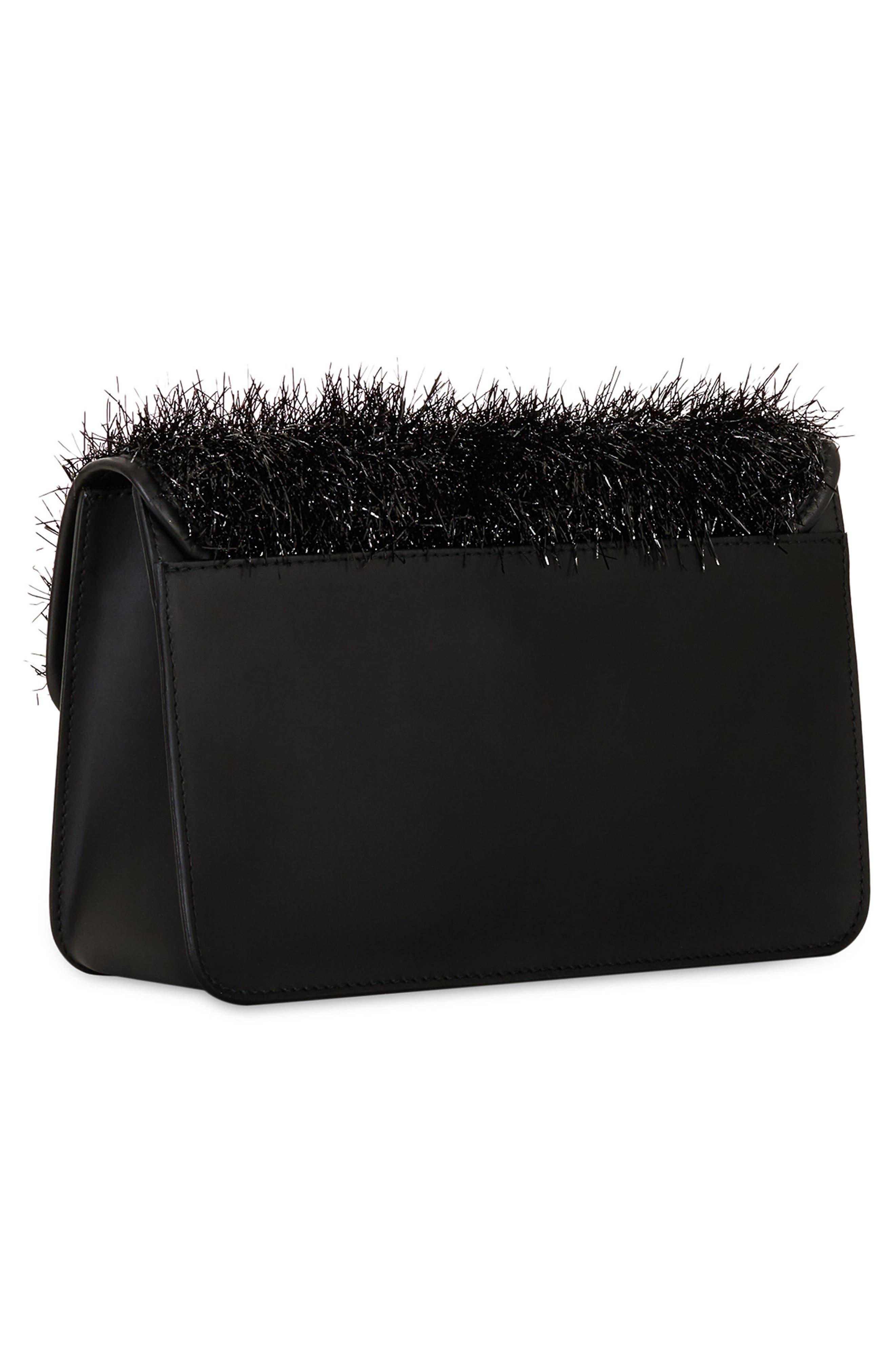 Metropolis Arabesque Leather Shoulder Bag,                             Alternate thumbnail 3, color,                             Onyx