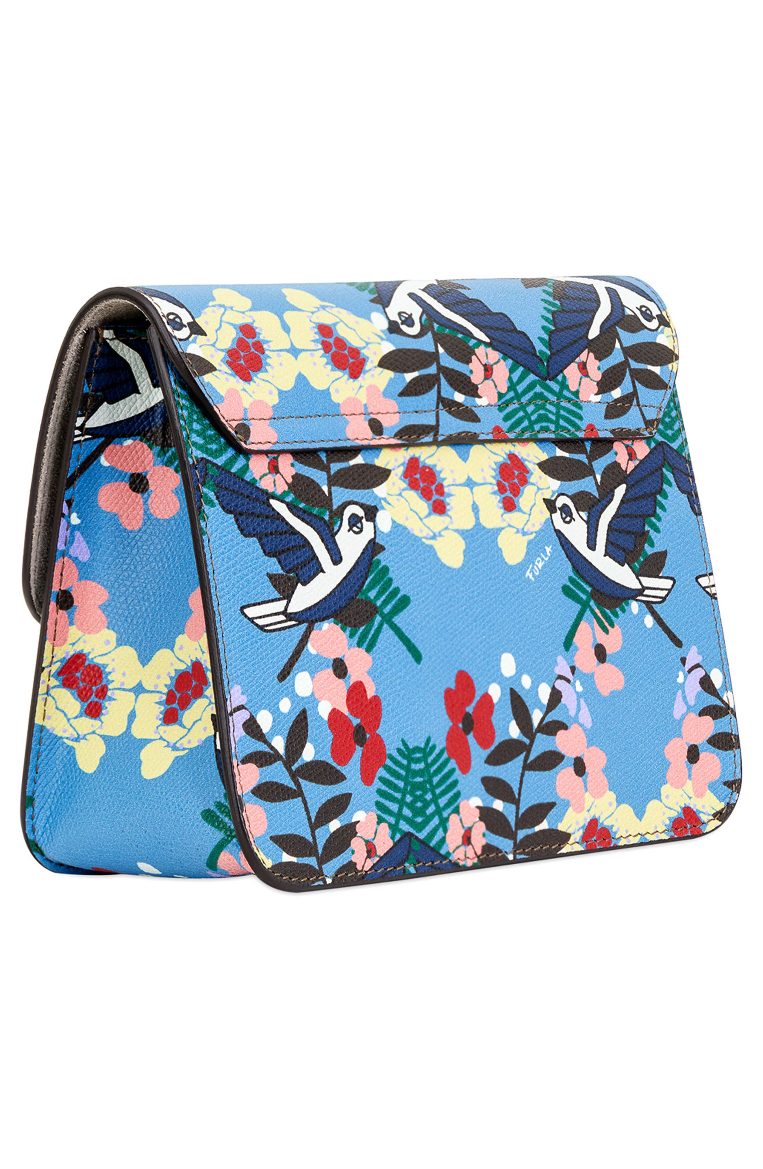 Small Metropolis Print Leather Crossbody Bag,                             Alternate thumbnail 3, color,                             Toni Celeste