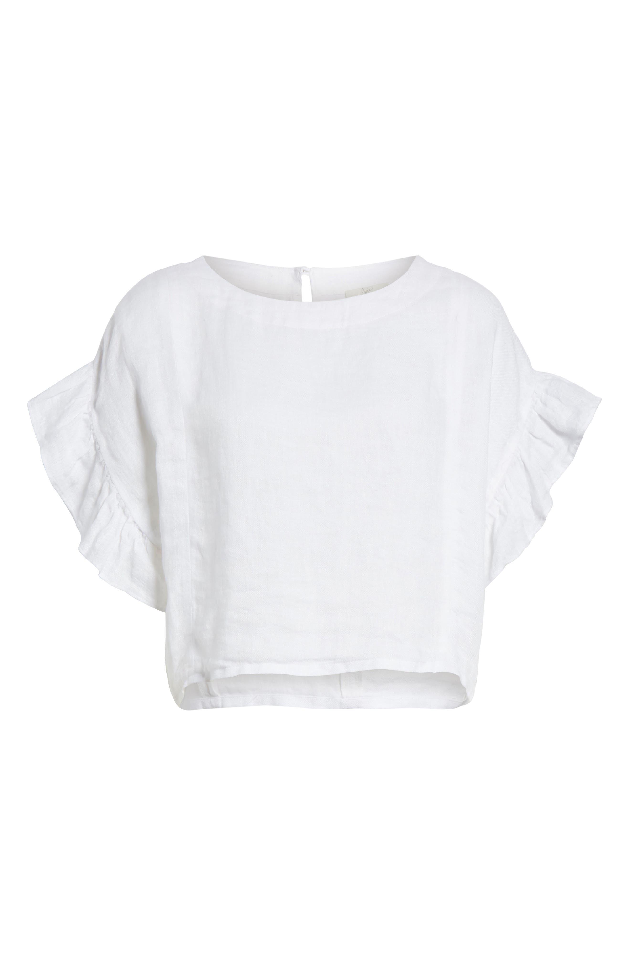 Febronia Ruffle Sleeve Linen Crop Top,                             Alternate thumbnail 6, color,                             Porcelain