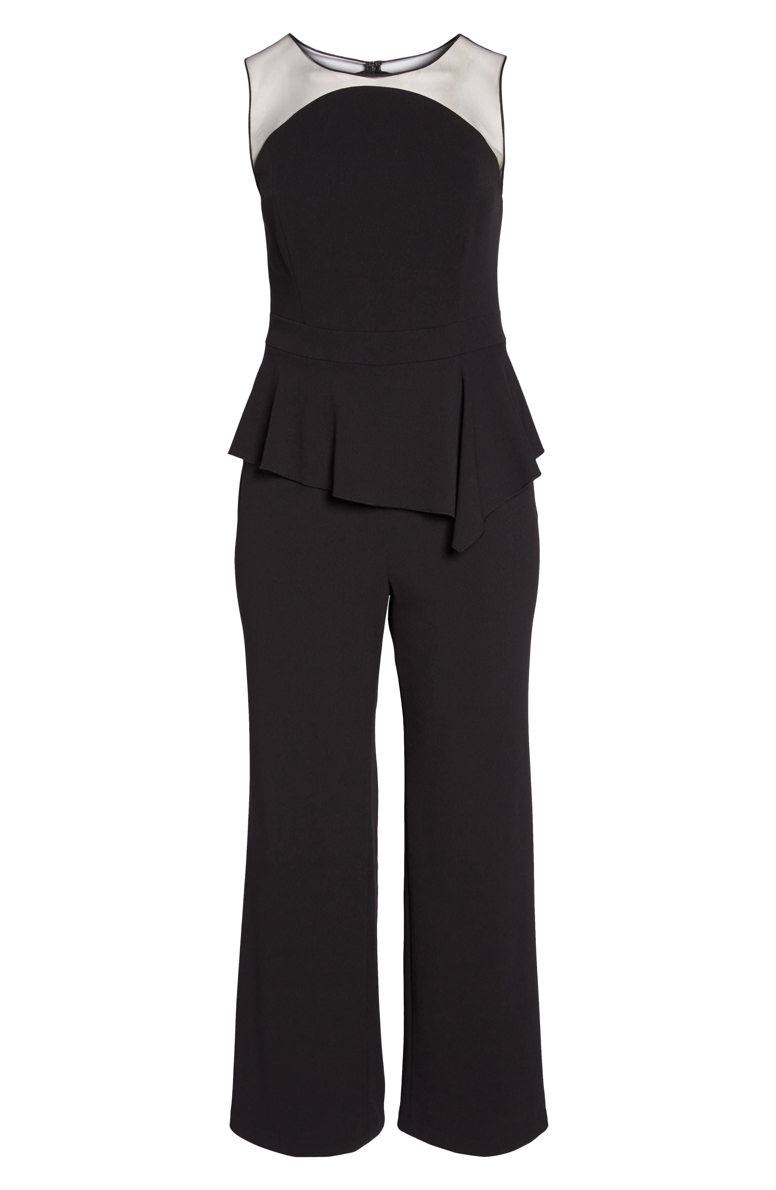 Illusion Neck Crepe Jumpsuit,                             Alternate thumbnail 6, color,                             Black