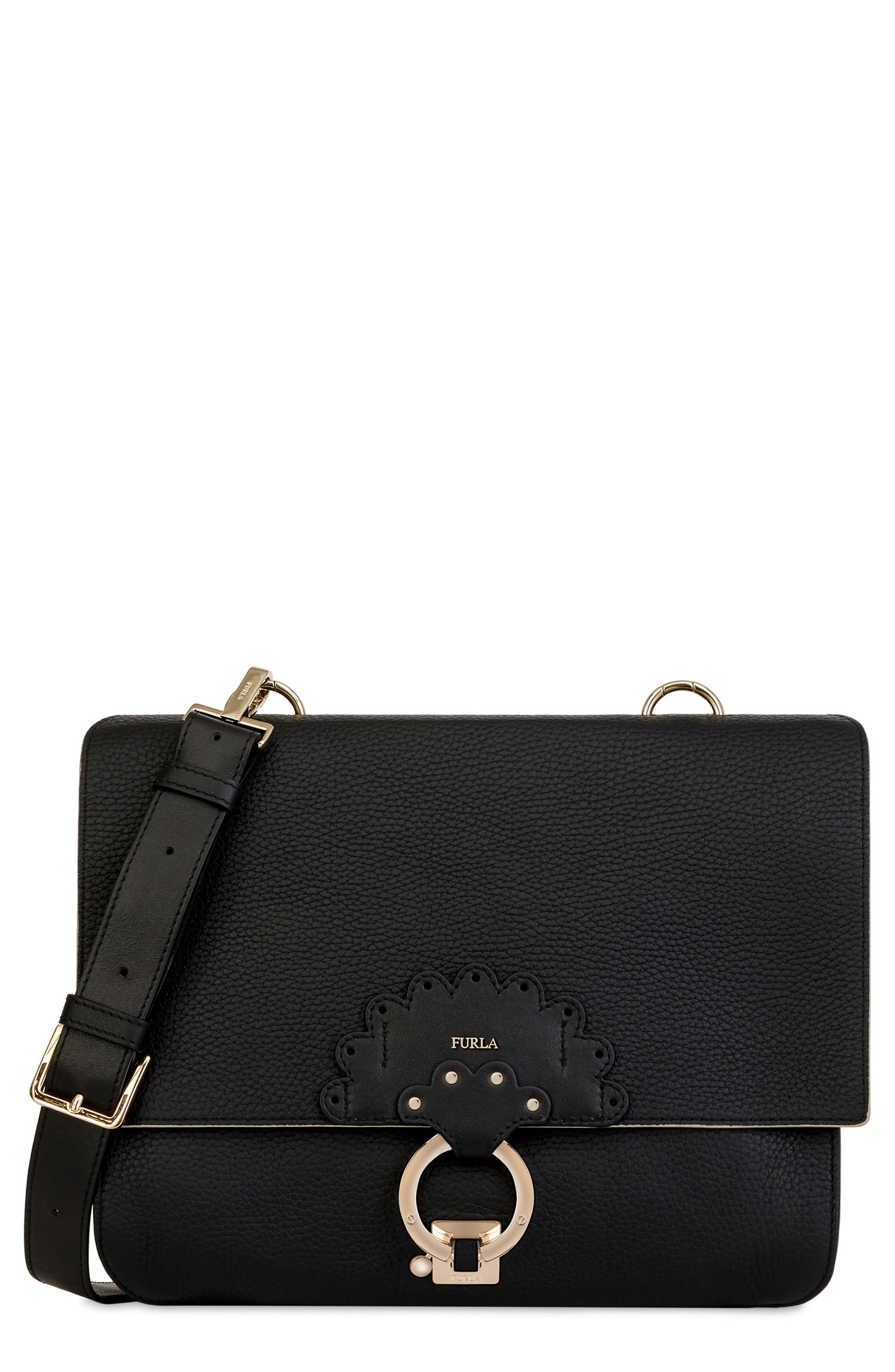 Scoop Leather Shoulder Bag,                         Main,                         color, Onyx+Vaniglia D