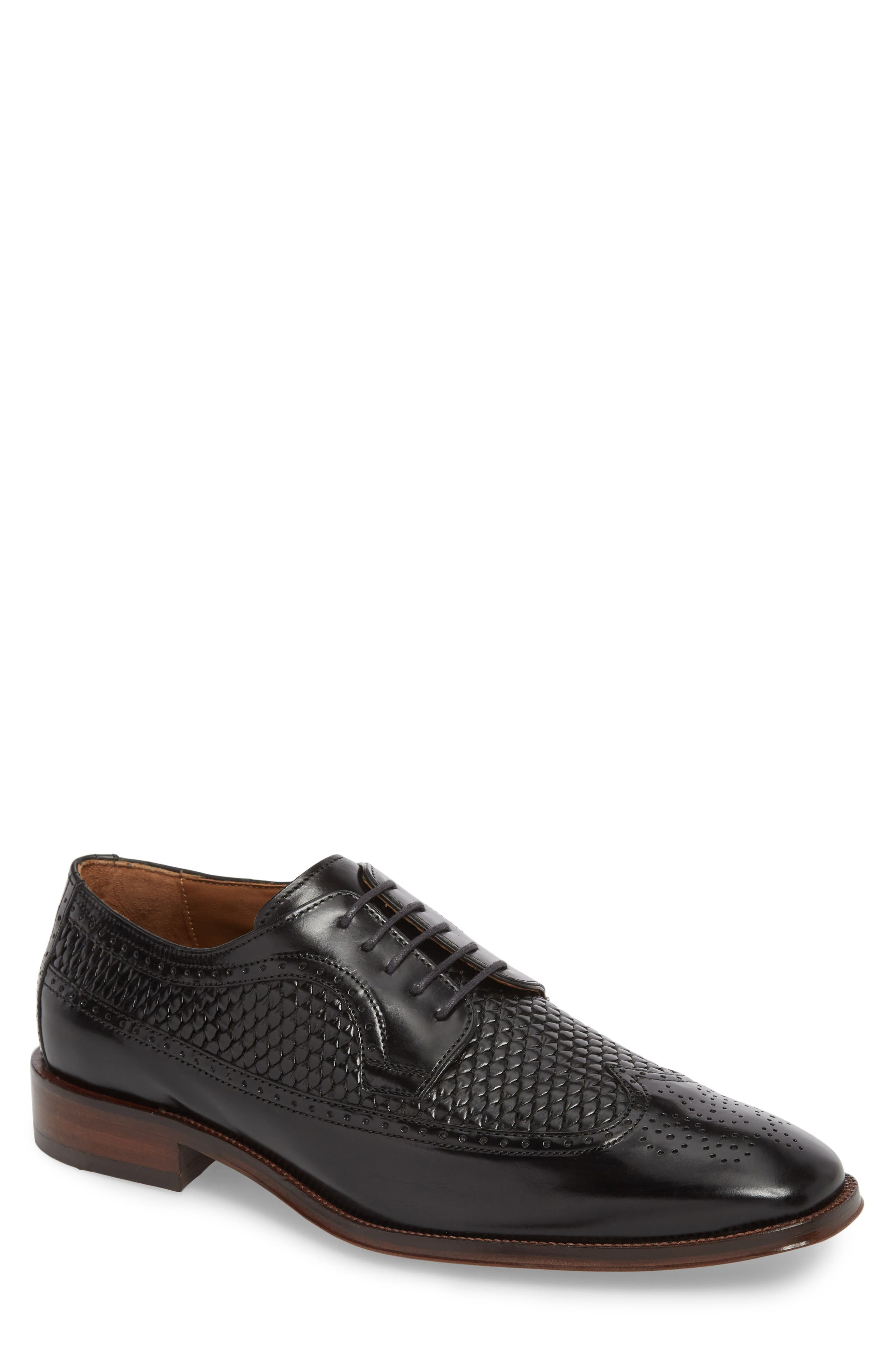 Boydstun Woven Wingtip Derby,                             Main thumbnail 1, color,                             Black Leather