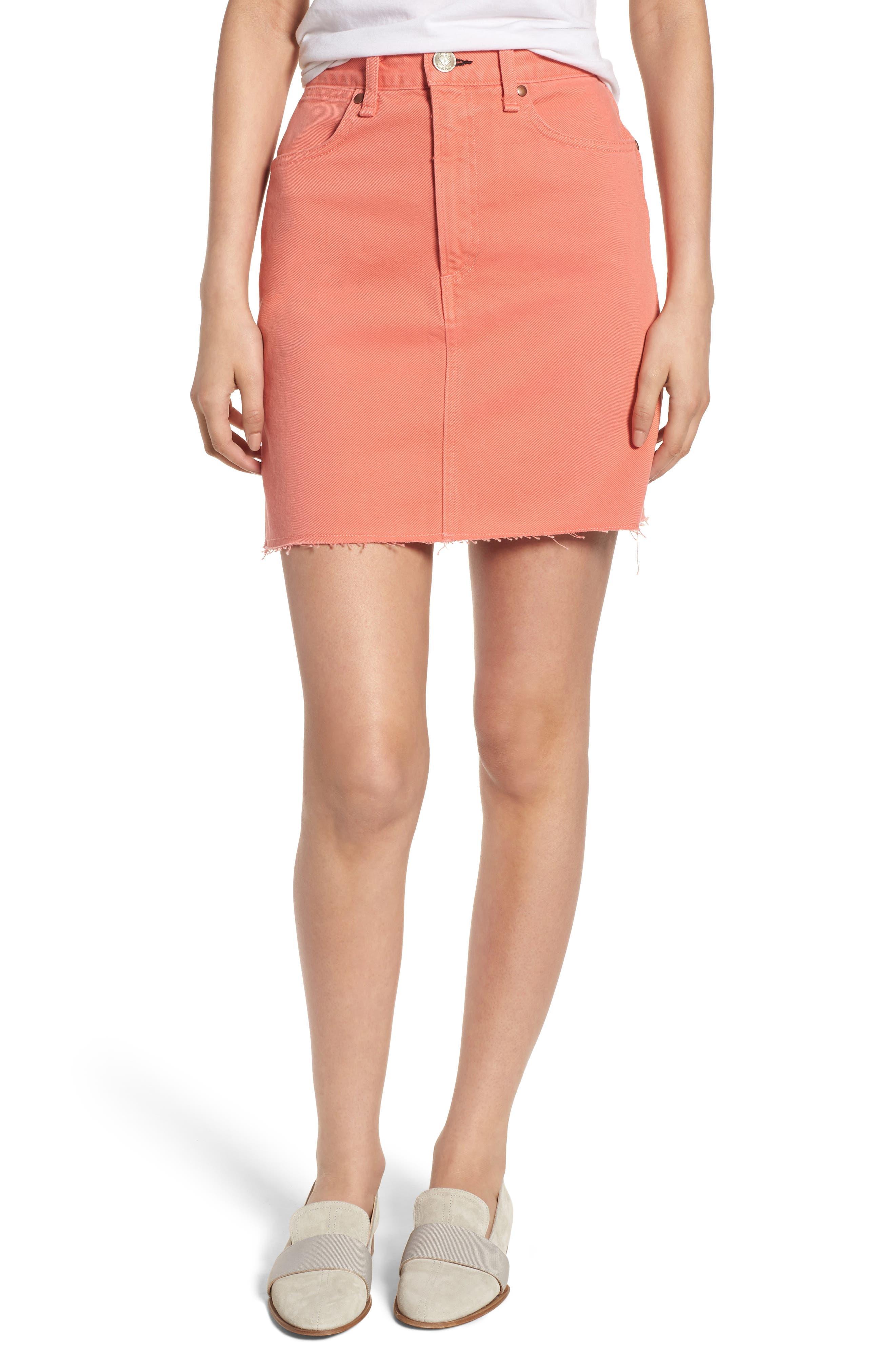 Moss High Waist Denim Miniskirt,                             Main thumbnail 1, color,                             Coral Haze