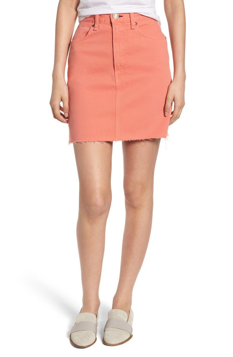 Moss High Waist Denim Miniskirt