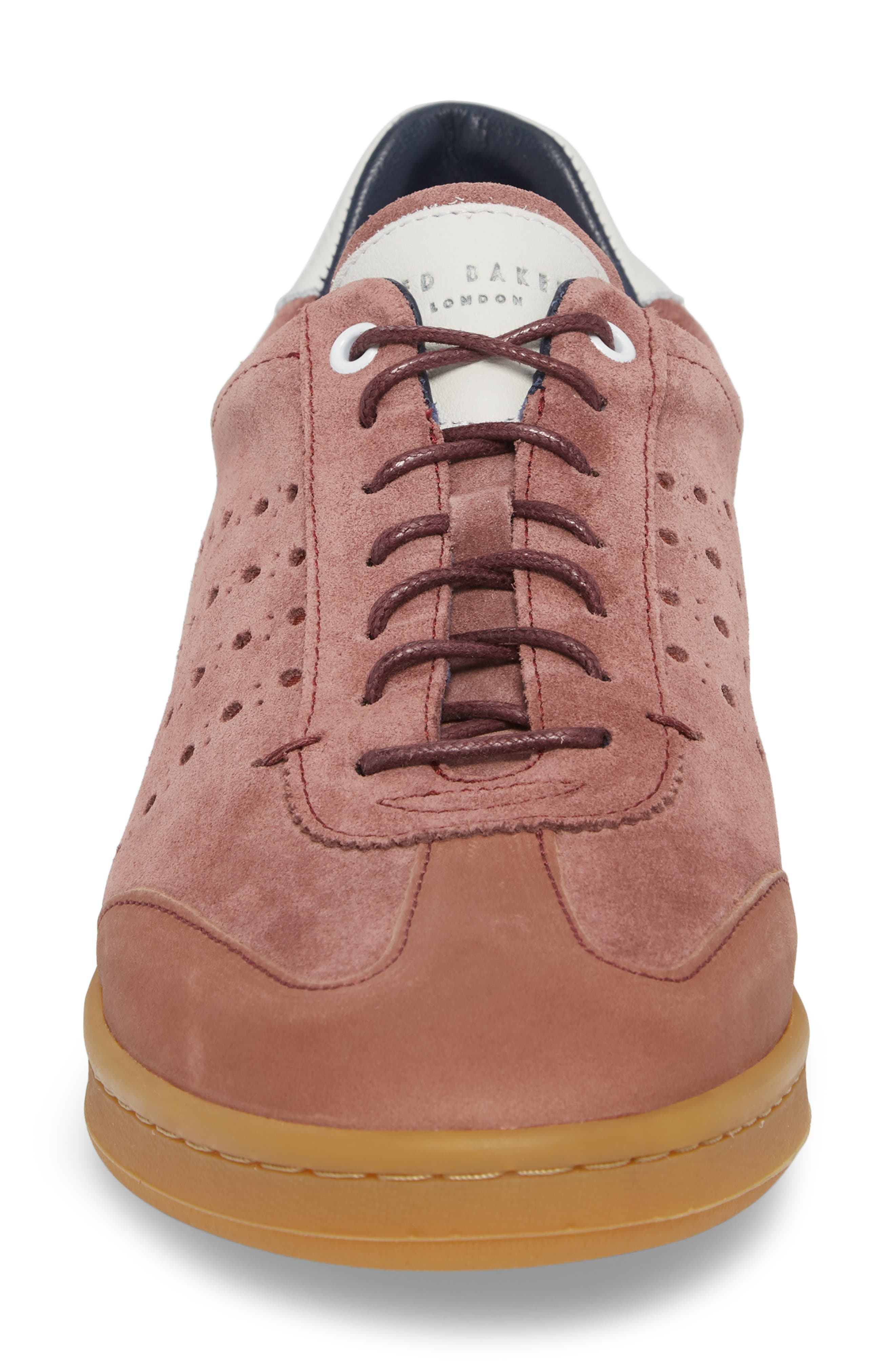 Orlees Low Top Sneaker,                             Alternate thumbnail 4, color,                             Pink Leather/ Suede