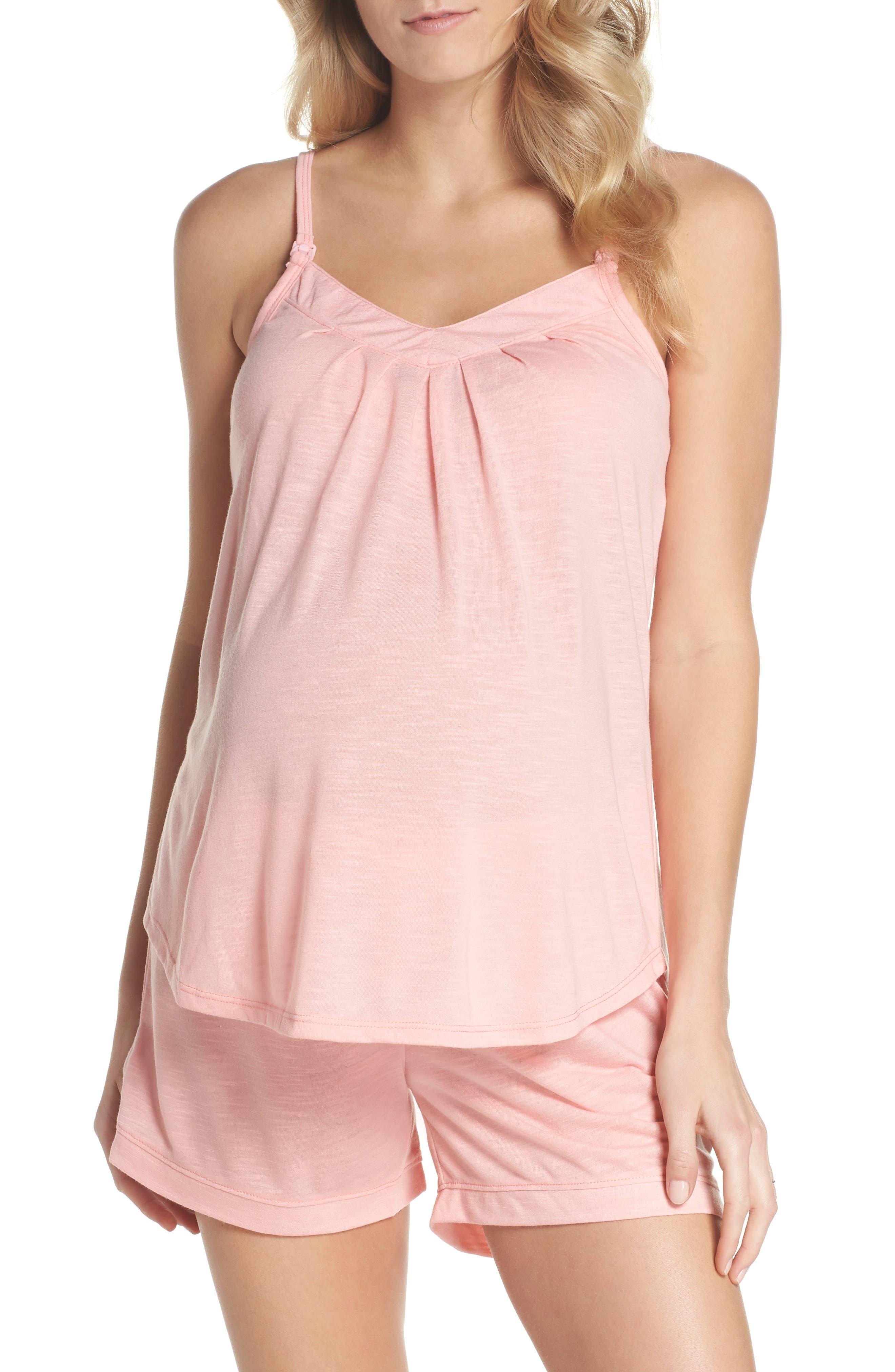 Summer Maternity/Nursing Short Pajamas,                         Main,                         color, Peach