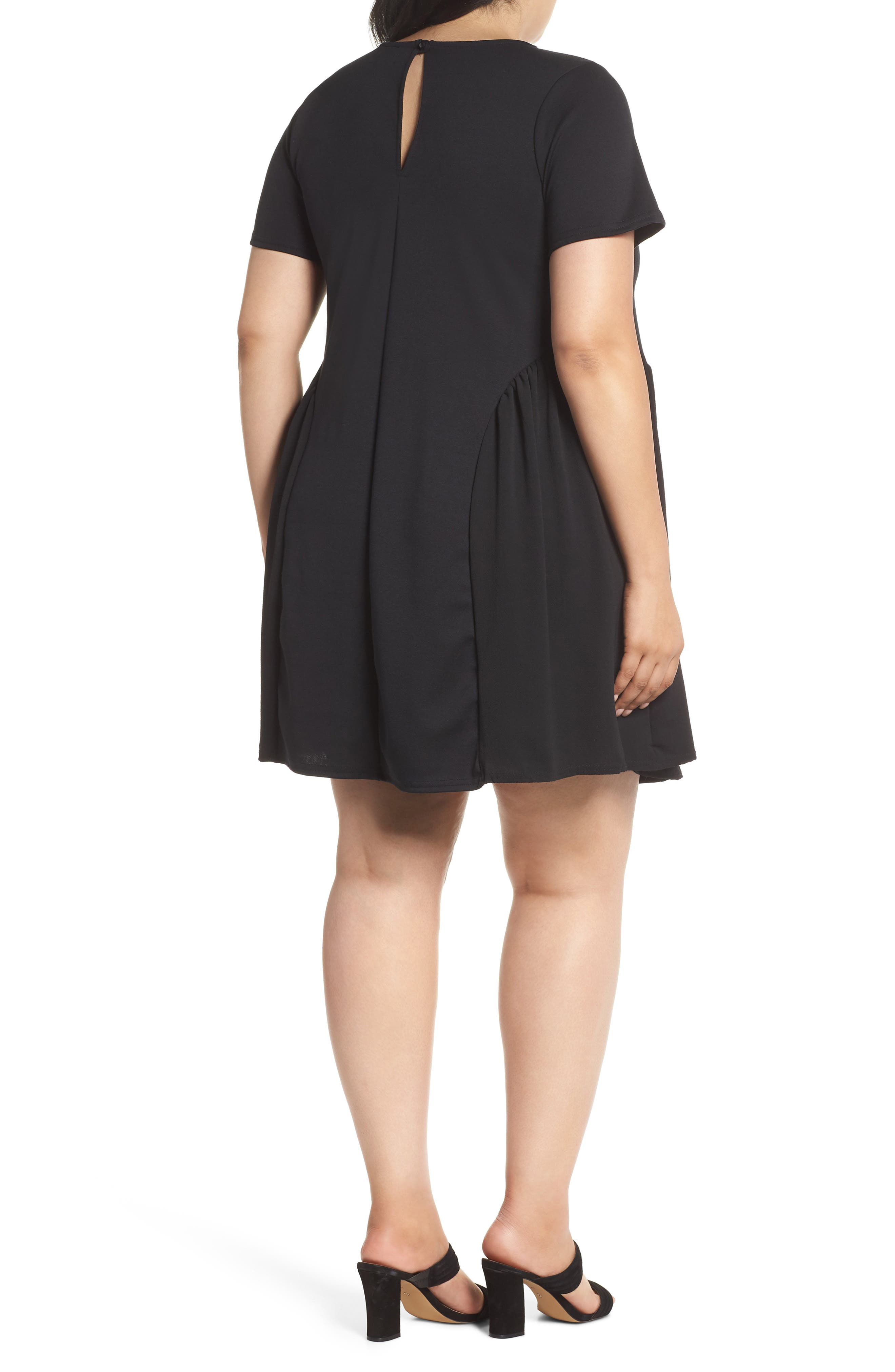 Crepe Chiffon Swing Dress,                             Alternate thumbnail 2, color,                             Black