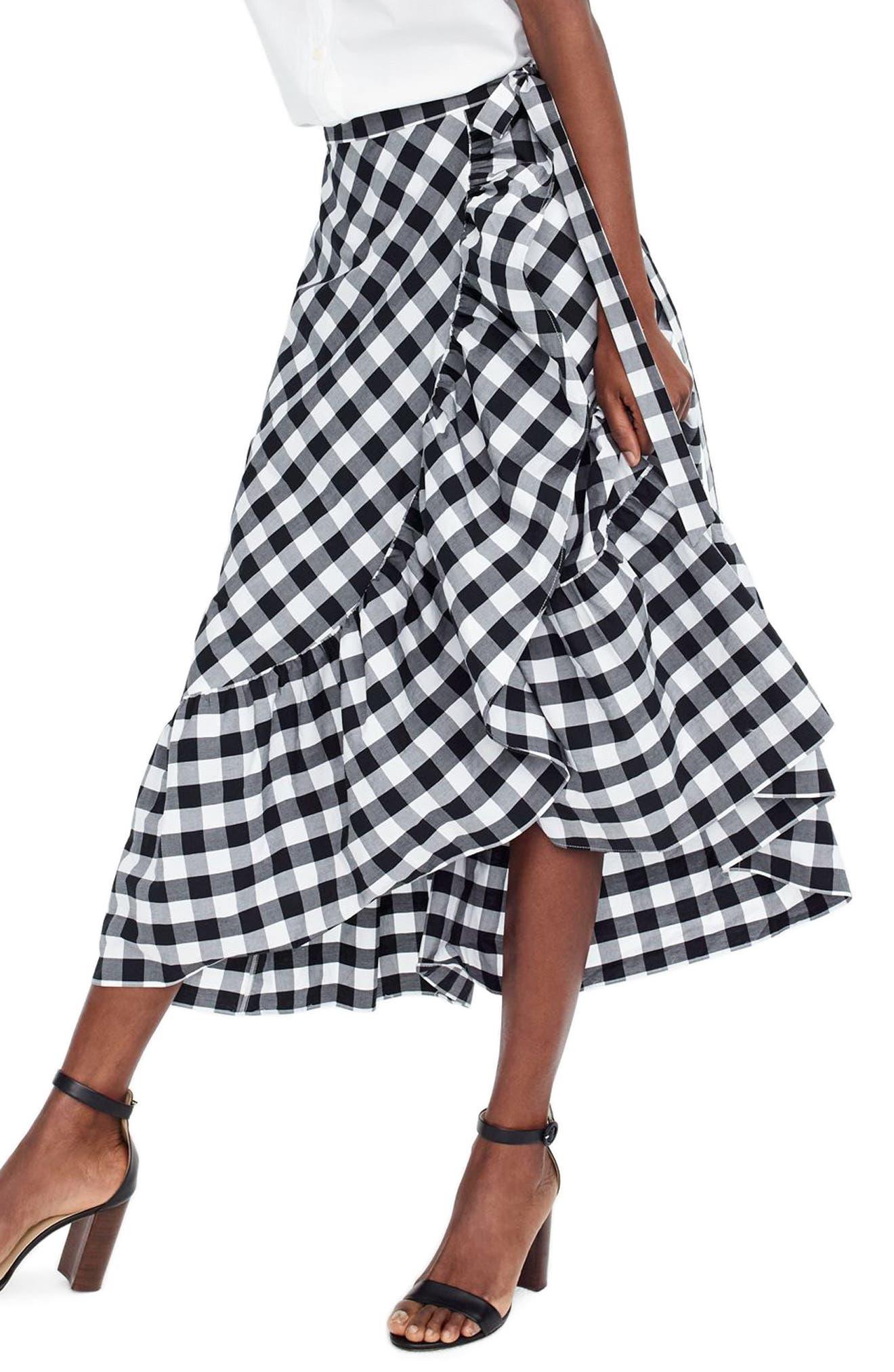 Gingham Ruffle Wrap Skirt,                             Main thumbnail 1, color,                             Black