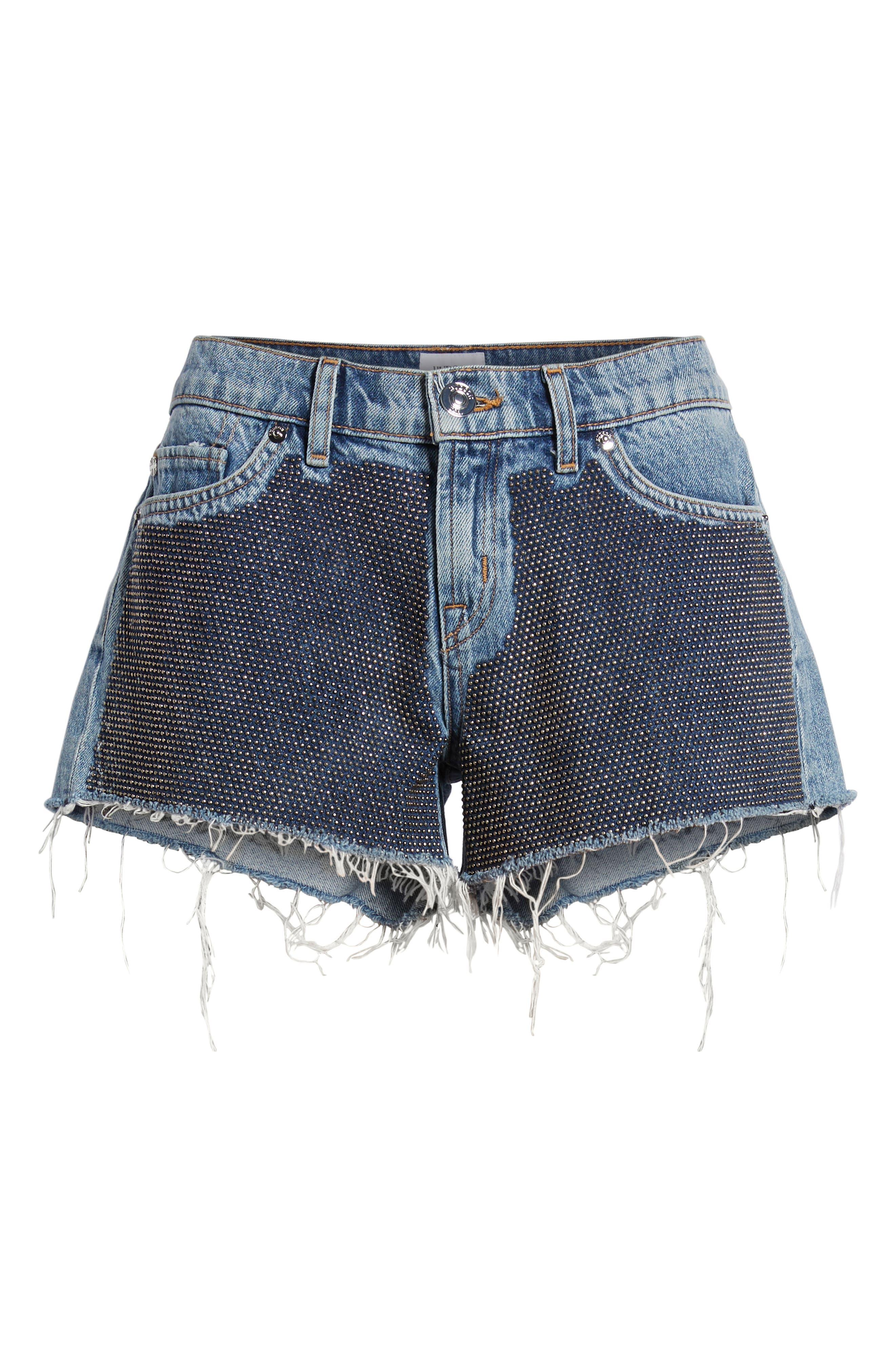 Kenzie Studded Cutoff Denim Shorts,                             Alternate thumbnail 7, color,                             Metal Mark