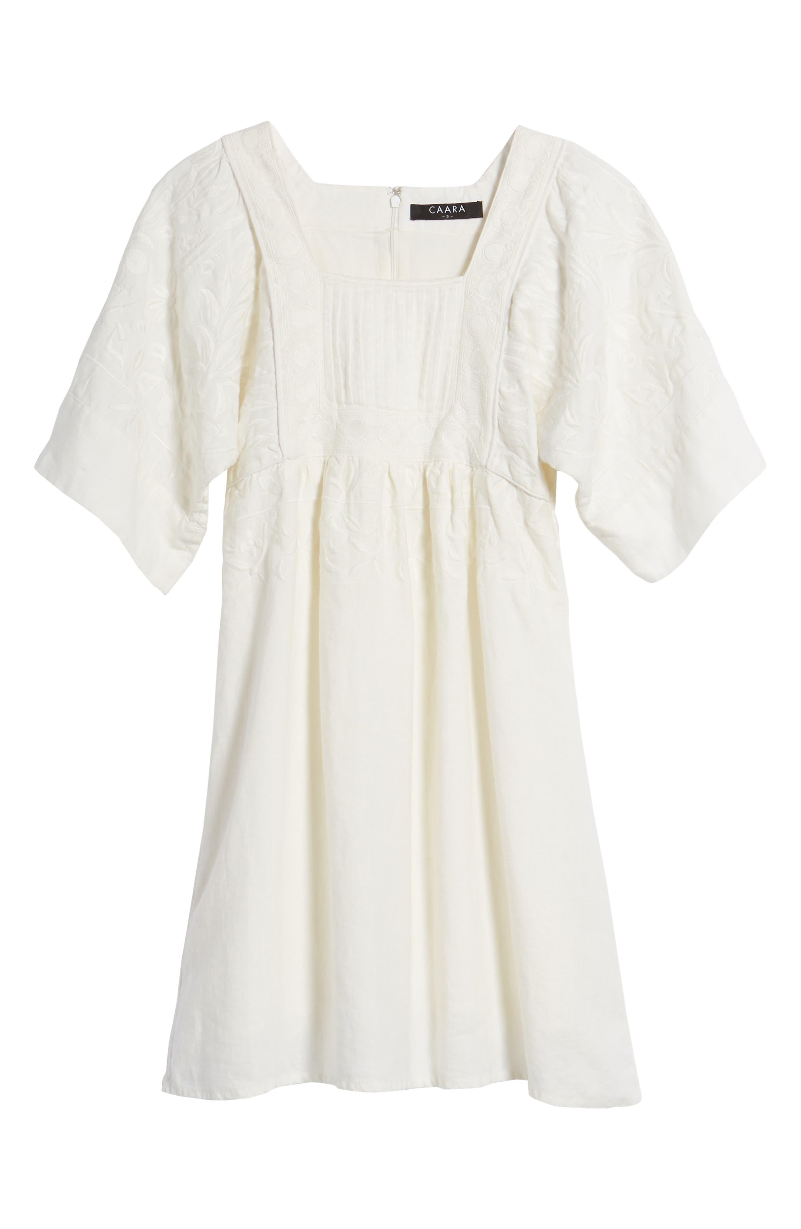 Elisa Embroidered Babydoll Dress,                             Alternate thumbnail 6, color,                             White