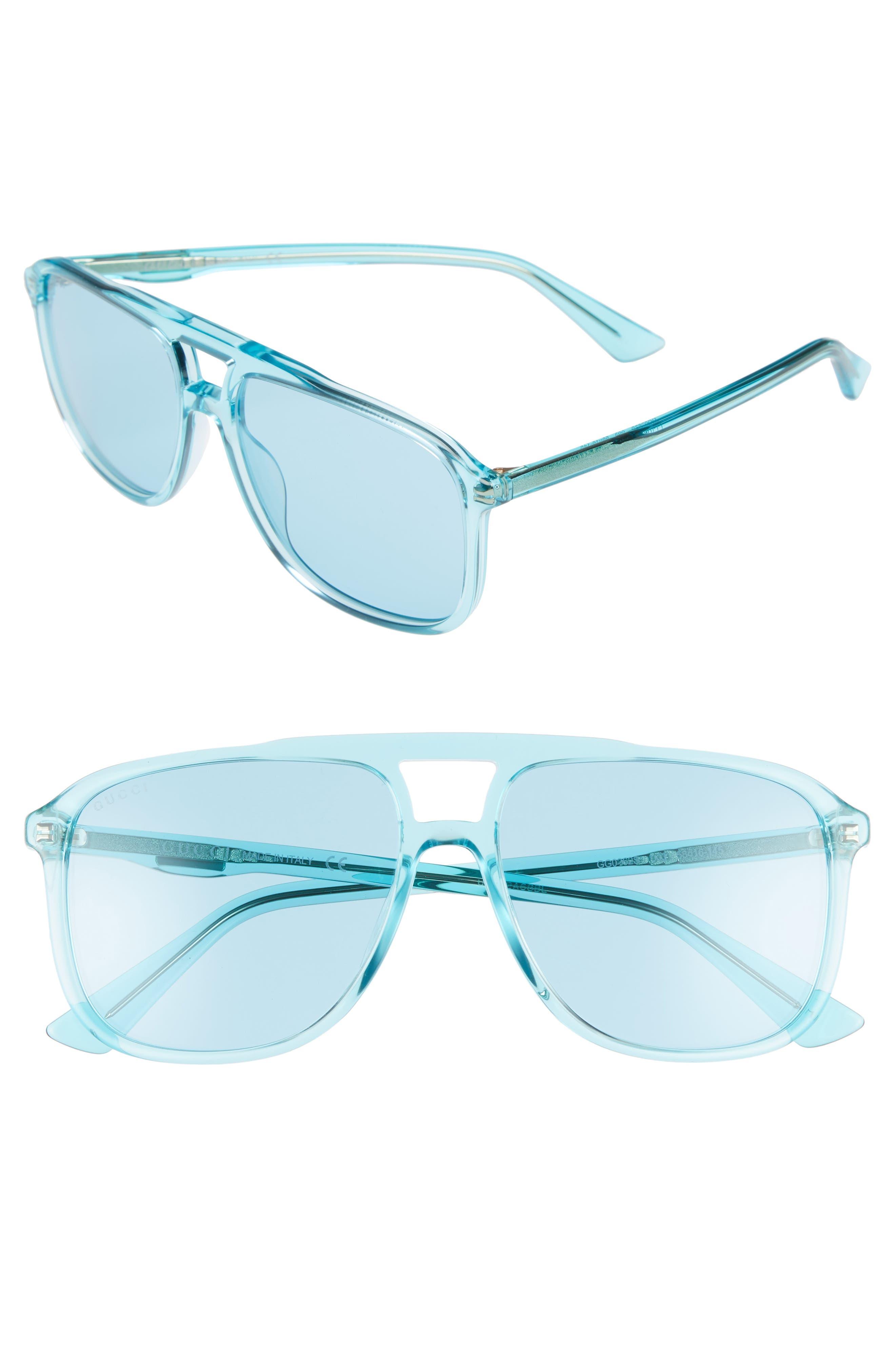 Gucci '80s Monocolor 58mm Aviator Sunglasses