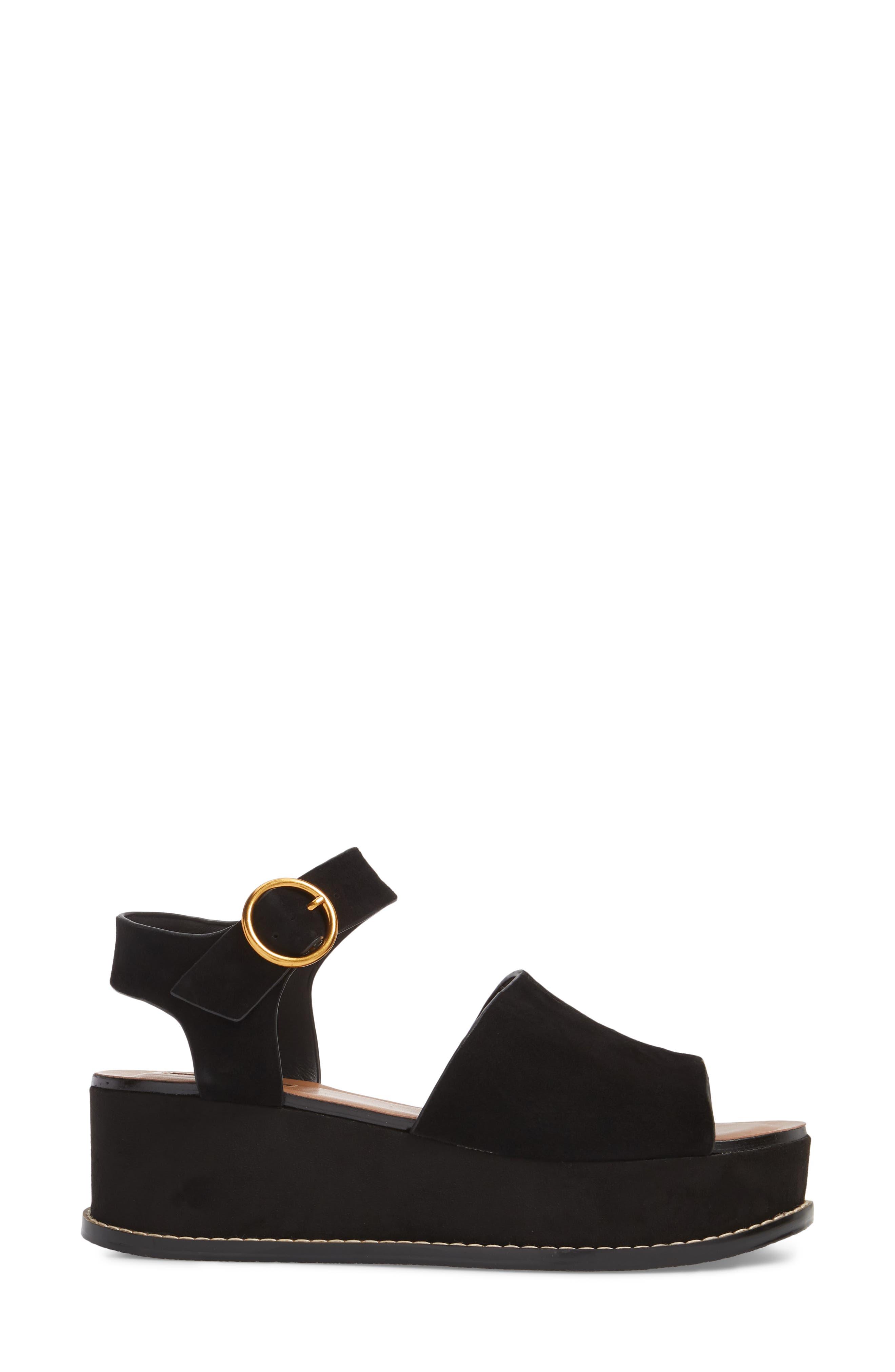 Wow Platform Wedge Sandal,                             Alternate thumbnail 3, color,                             Black