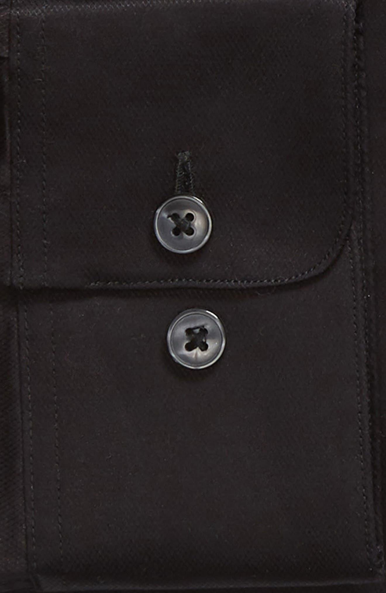 Slim Fit Stretch Solid Dress Shirt,                             Alternate thumbnail 5, color,                             Black