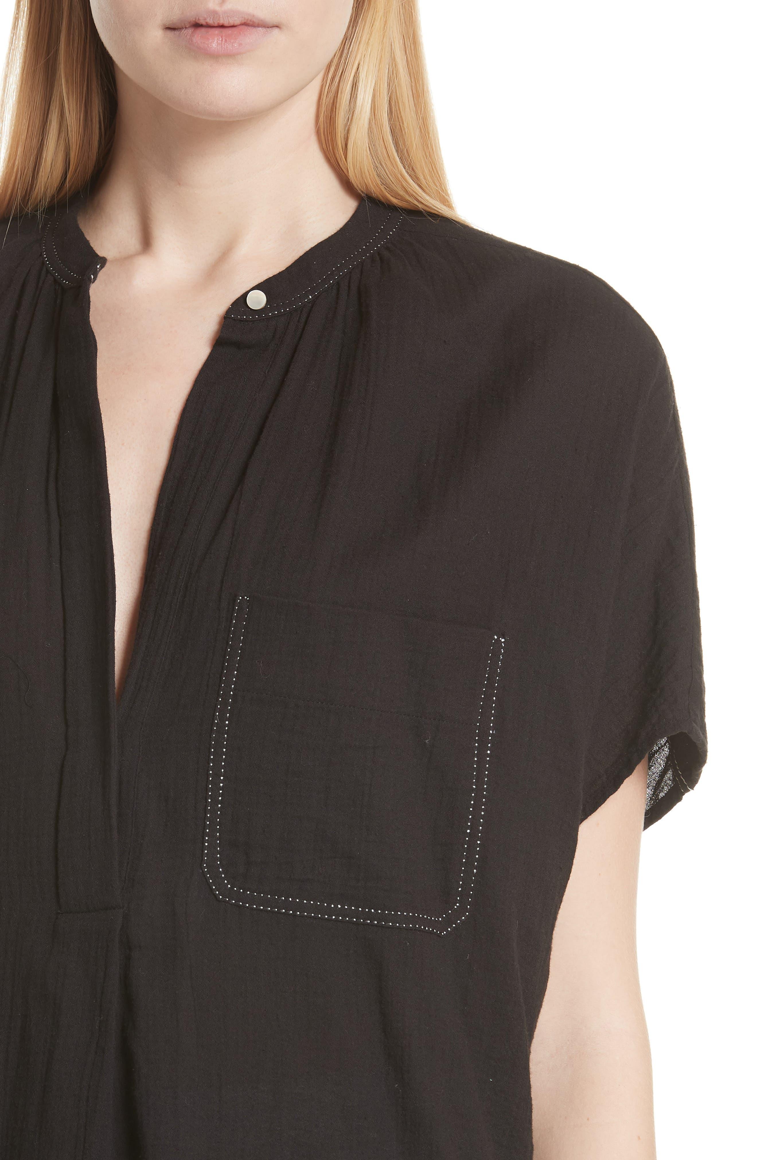 Topstitch Crinkle Cotton Top,                             Alternate thumbnail 4, color,                             Black