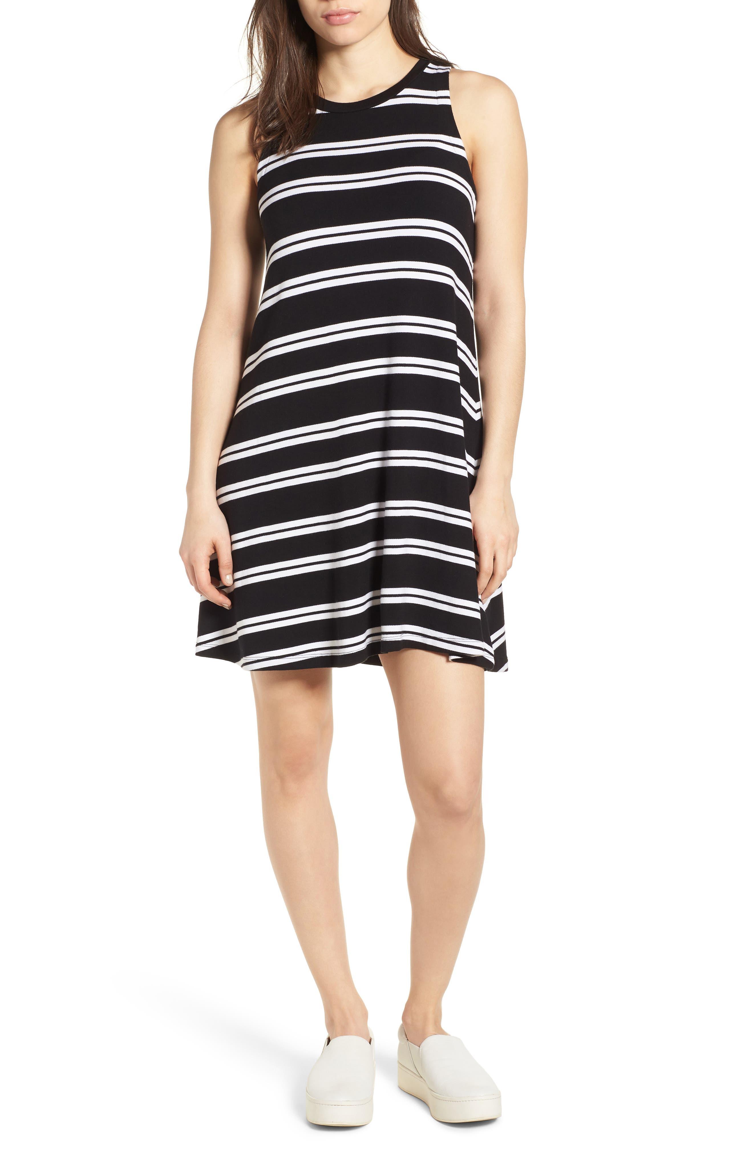 Sleeveless Stretch Knit Stripe Dress,                             Main thumbnail 1, color,                             Black