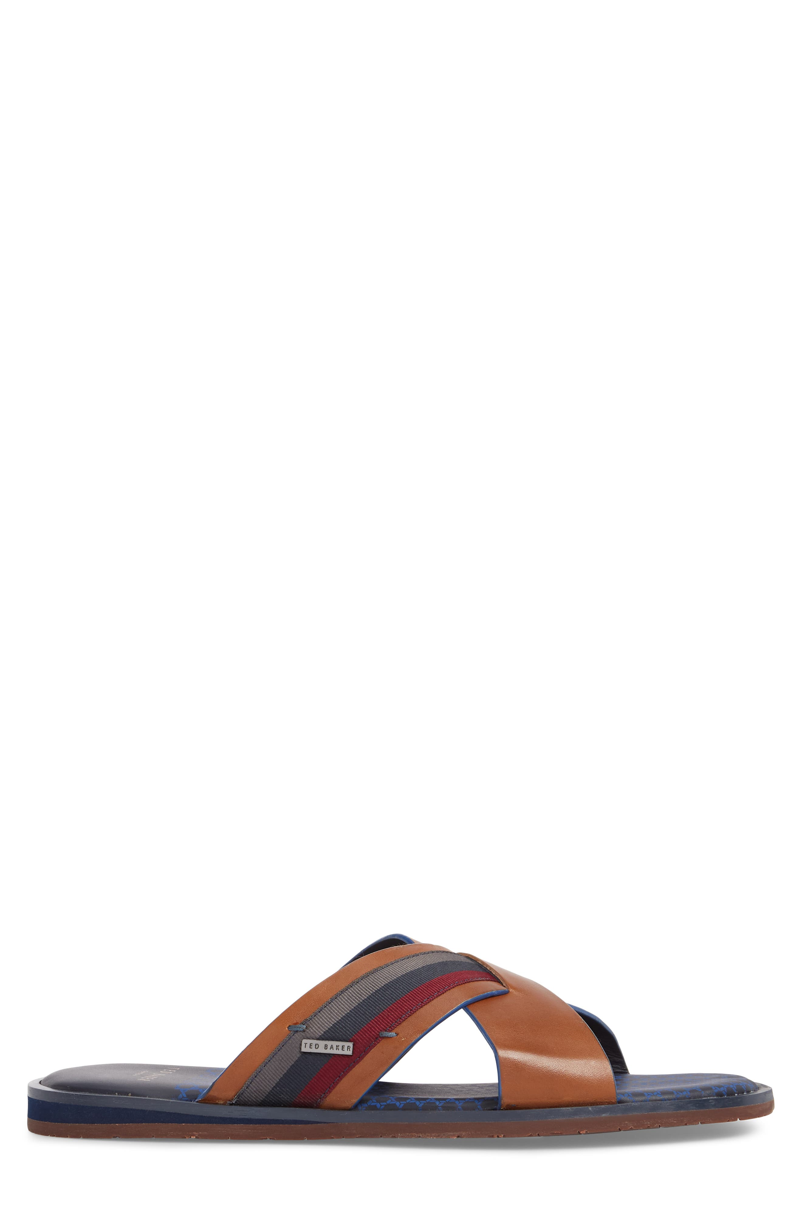 Farrull Cross Strap Slide Sandal,                             Alternate thumbnail 3, color,                             Tan Leather/ Textile