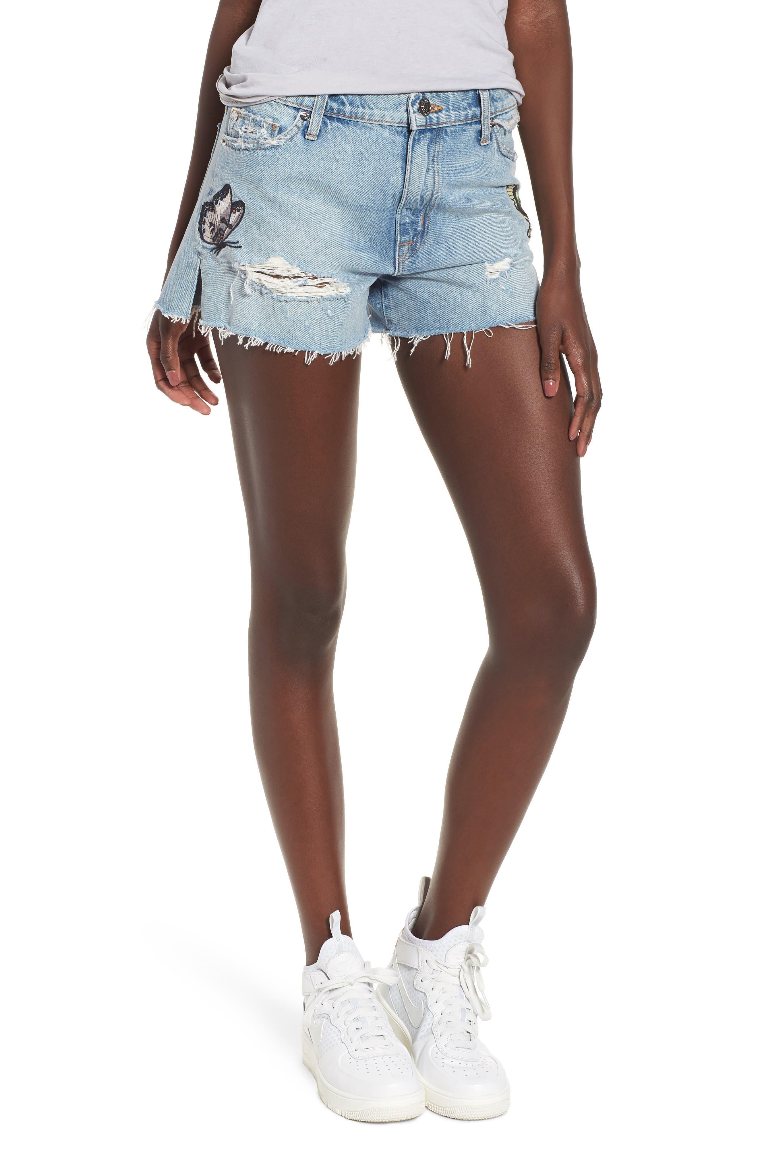 Sade Cutoff Denim Shorts,                         Main,                         color, Monarch