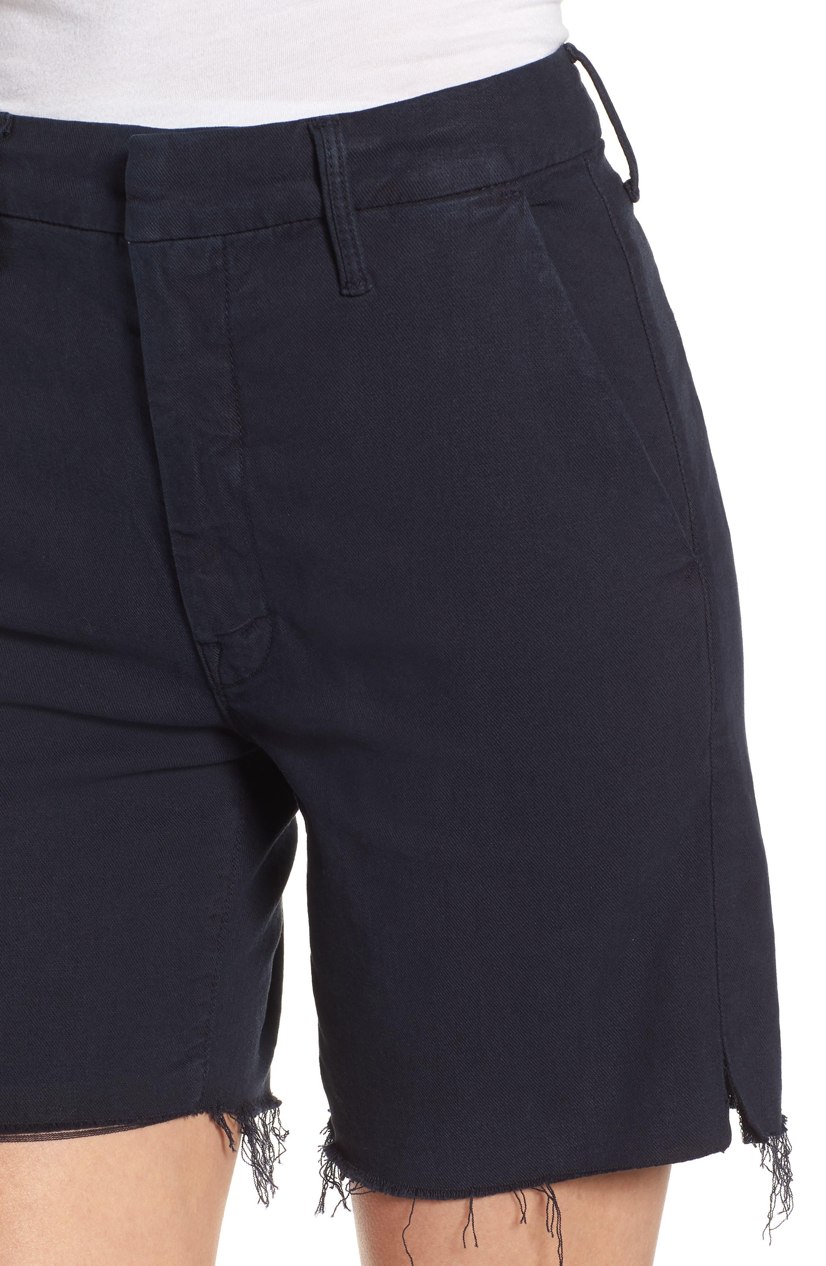 The Bermuda Prep Snippet Fray Twill Shorts,                             Alternate thumbnail 4, color,                             Navy