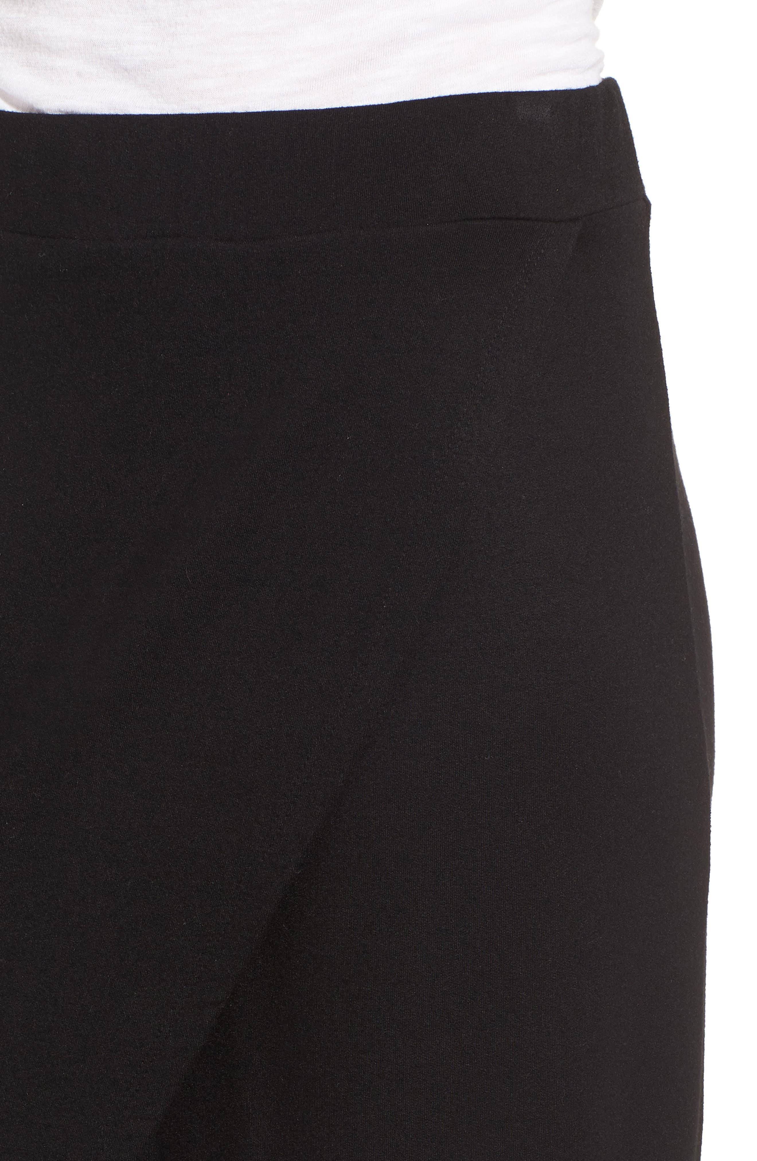 Faux Wrap Skirt,                             Alternate thumbnail 4, color,                             Black