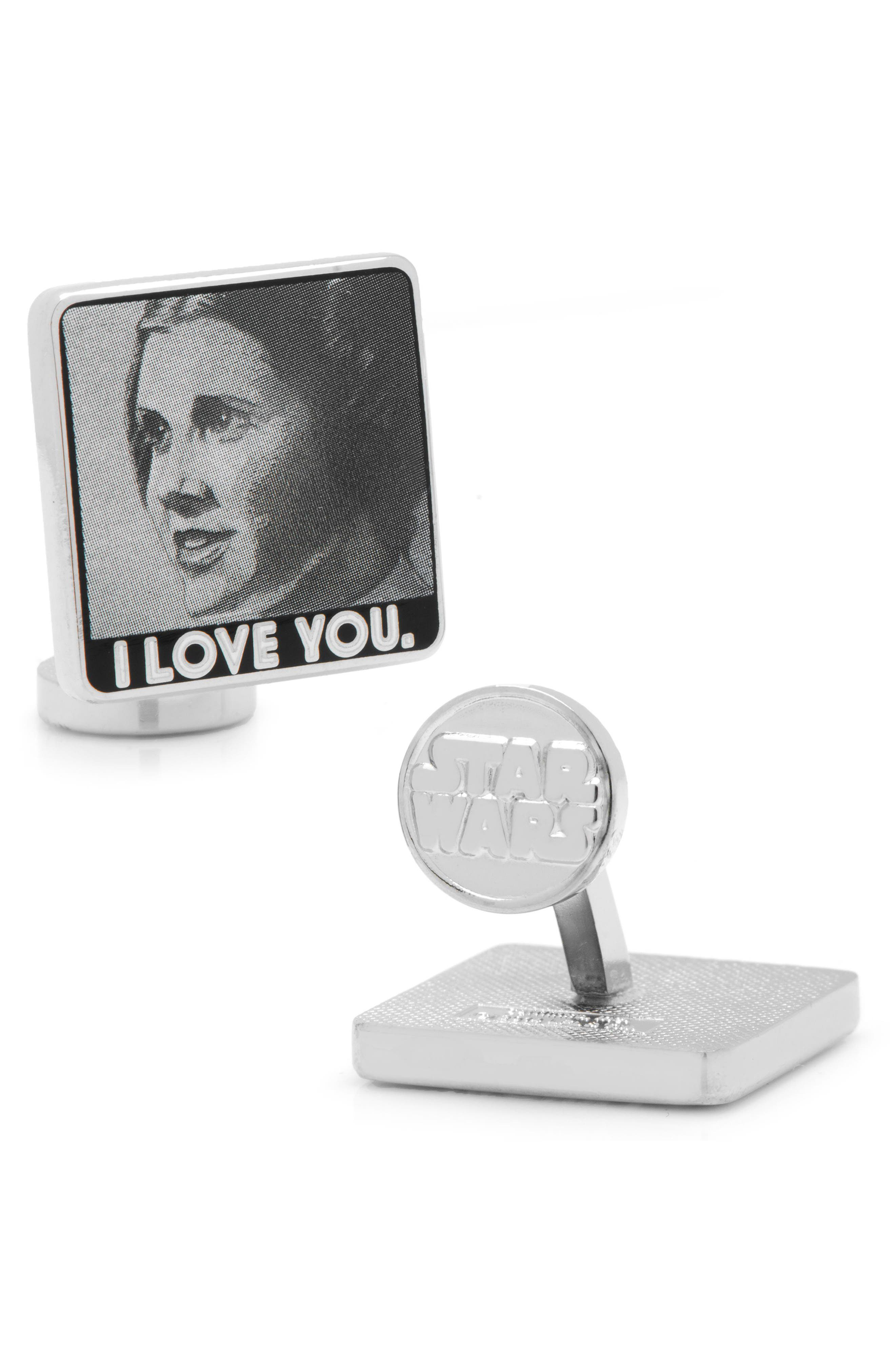 I Love You/I Know Cuff Links,                             Alternate thumbnail 2, color,                             Grey/ White