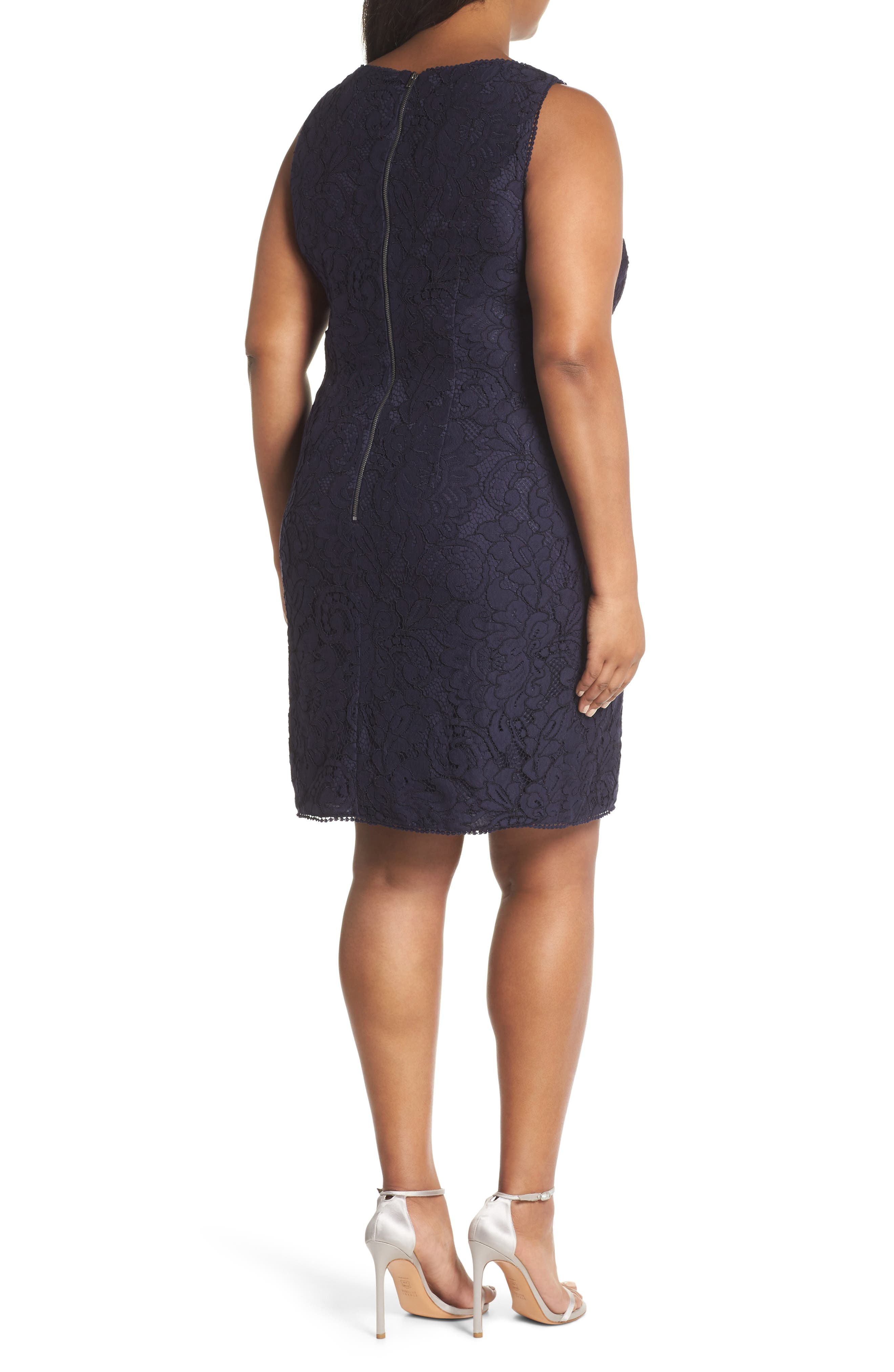 Lace Sheath Dress,                             Alternate thumbnail 2, color,                             Navy
