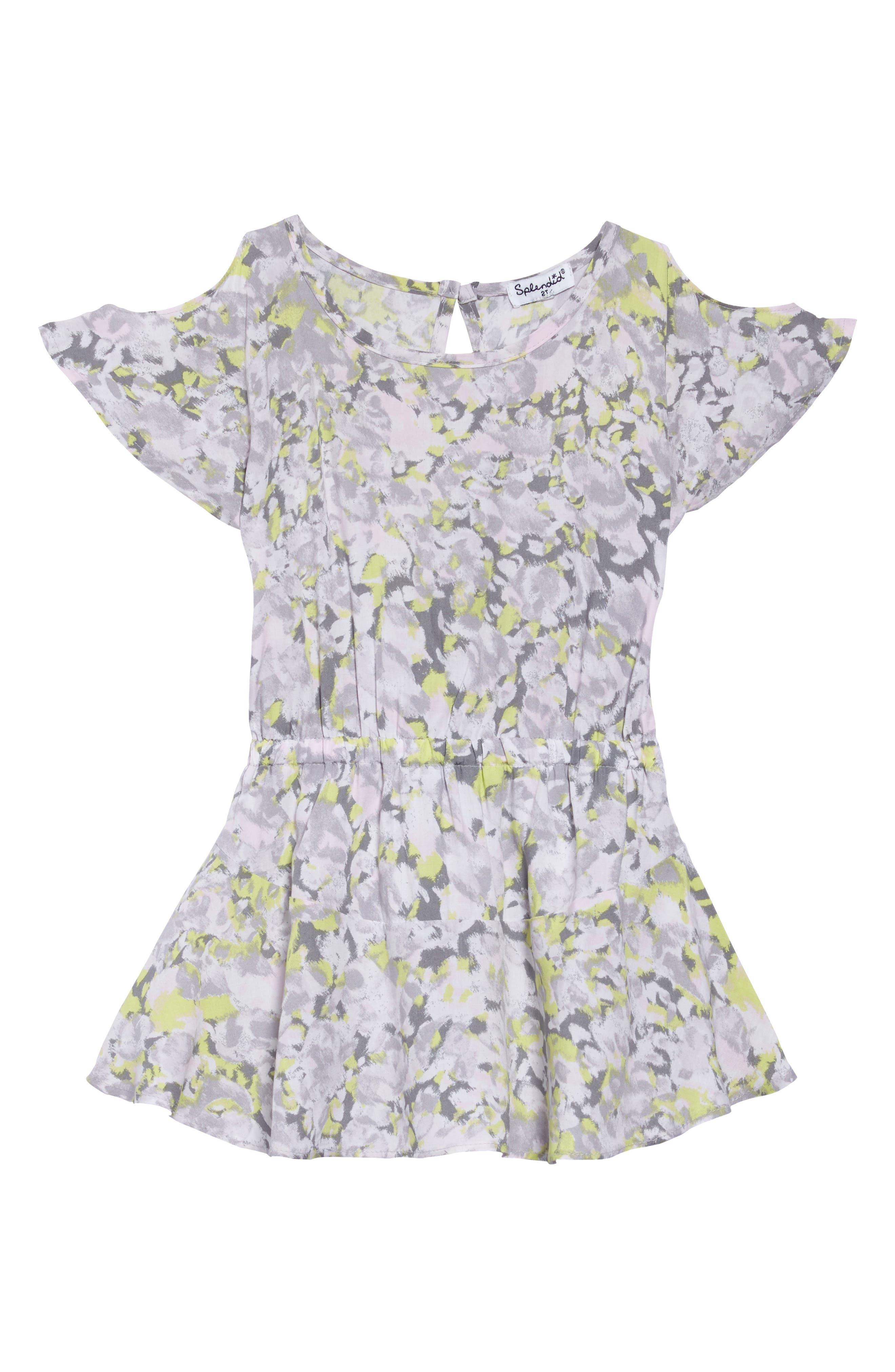 Print Cold Shoulder Dress,                             Main thumbnail 1, color,                             Light Grey
