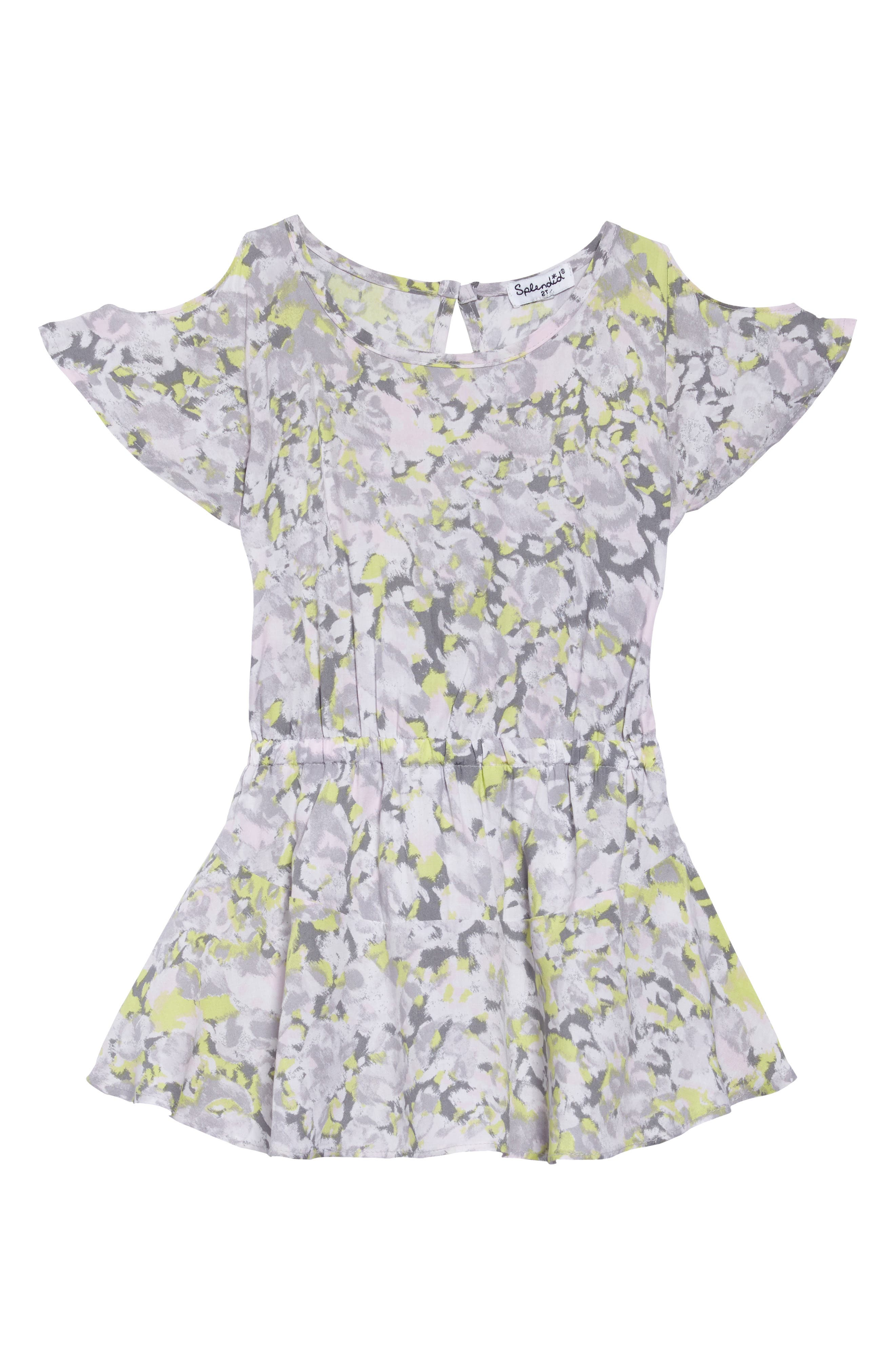 Splendid Print Cold Shoulder Dress (Toddler Girls, Little Girls & Big Girls)