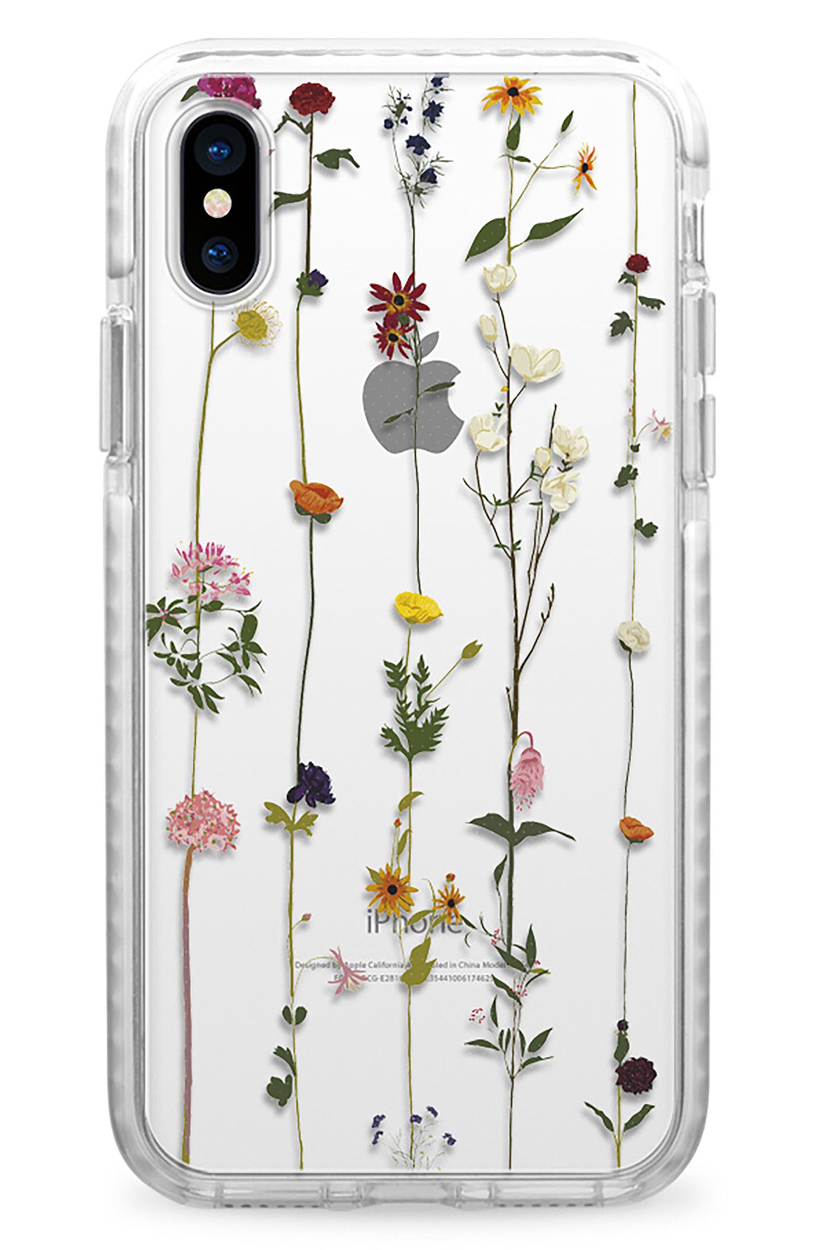 Floral Impact iPhone X Case,                             Main thumbnail 1, color,                             Clear Multi