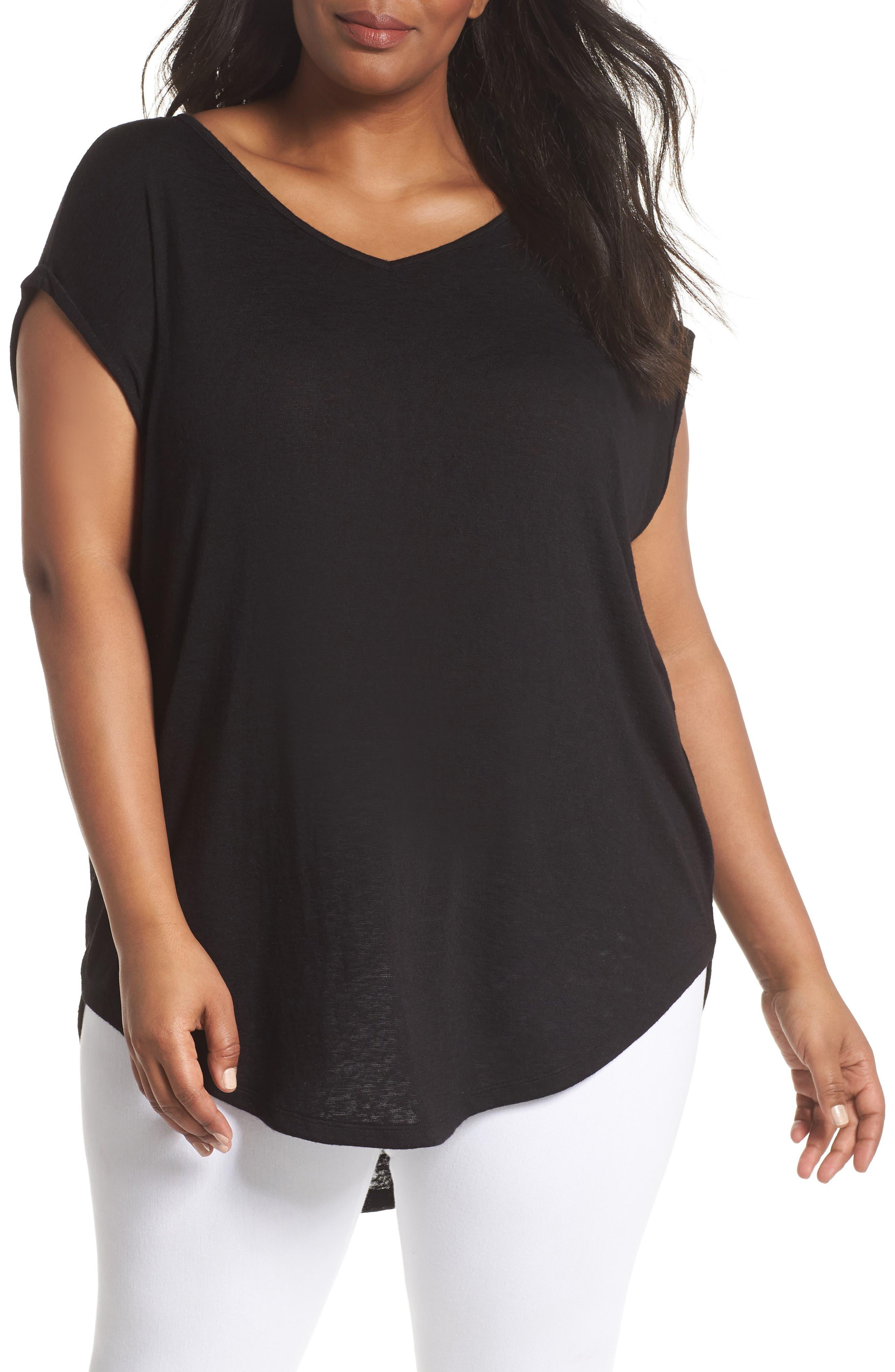 Caslon® Dolman Sleeve V-Neck Tunic Tee (Plus Size)