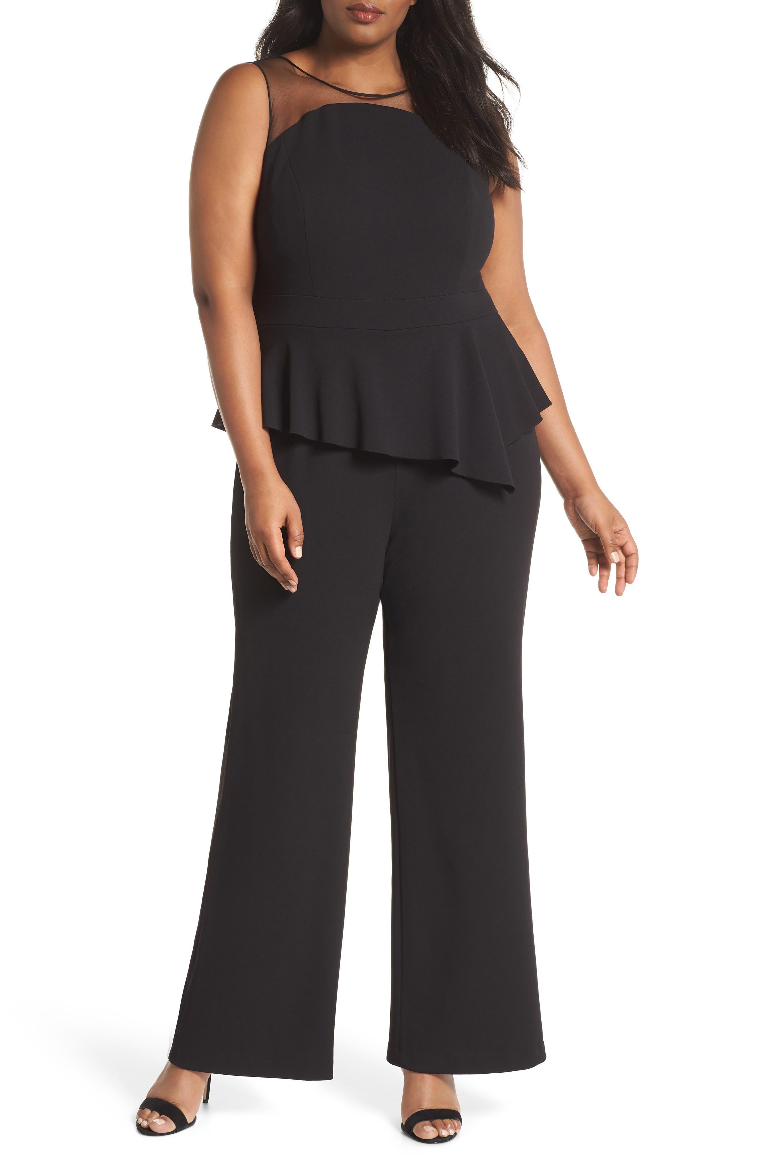 Illusion Neck Crepe Jumpsuit,                         Main,                         color, Black
