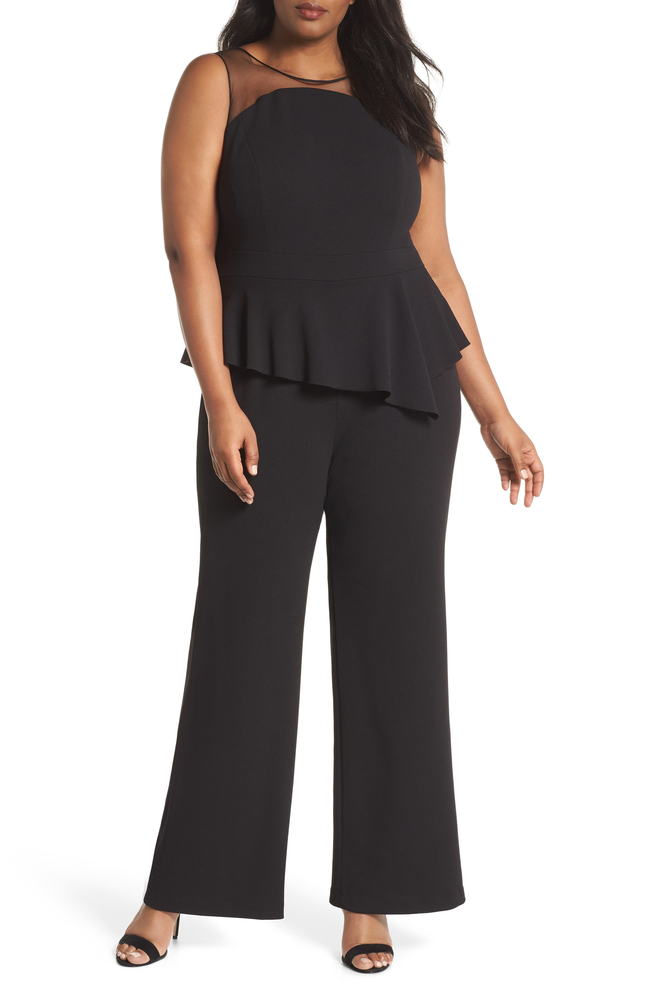 Adrianna Papell Illusion Neck Crepe Jumpsuit (Plus Size)