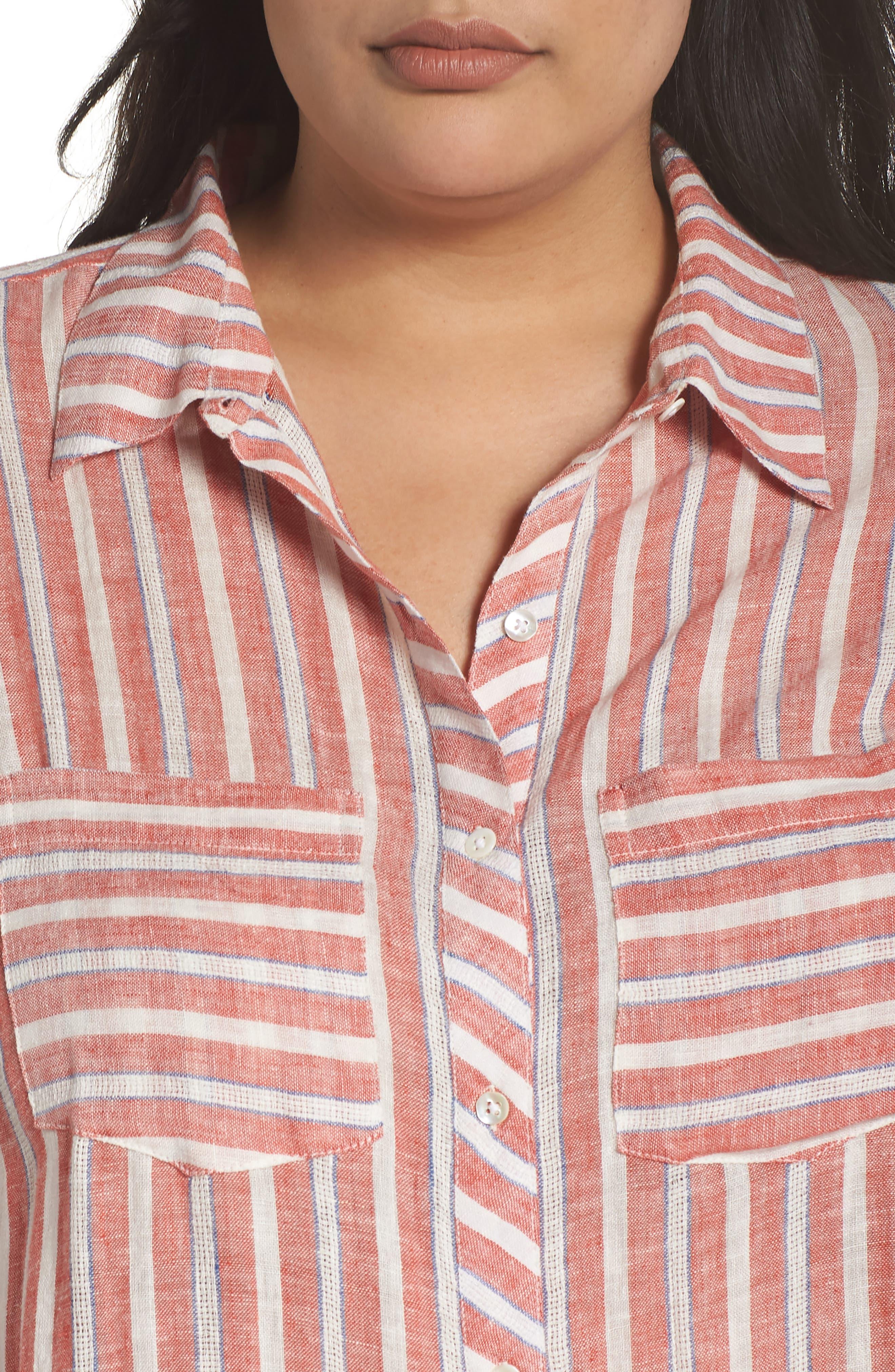 Tie Back Stripe Shirt,                             Alternate thumbnail 4, color,                             Red Multi