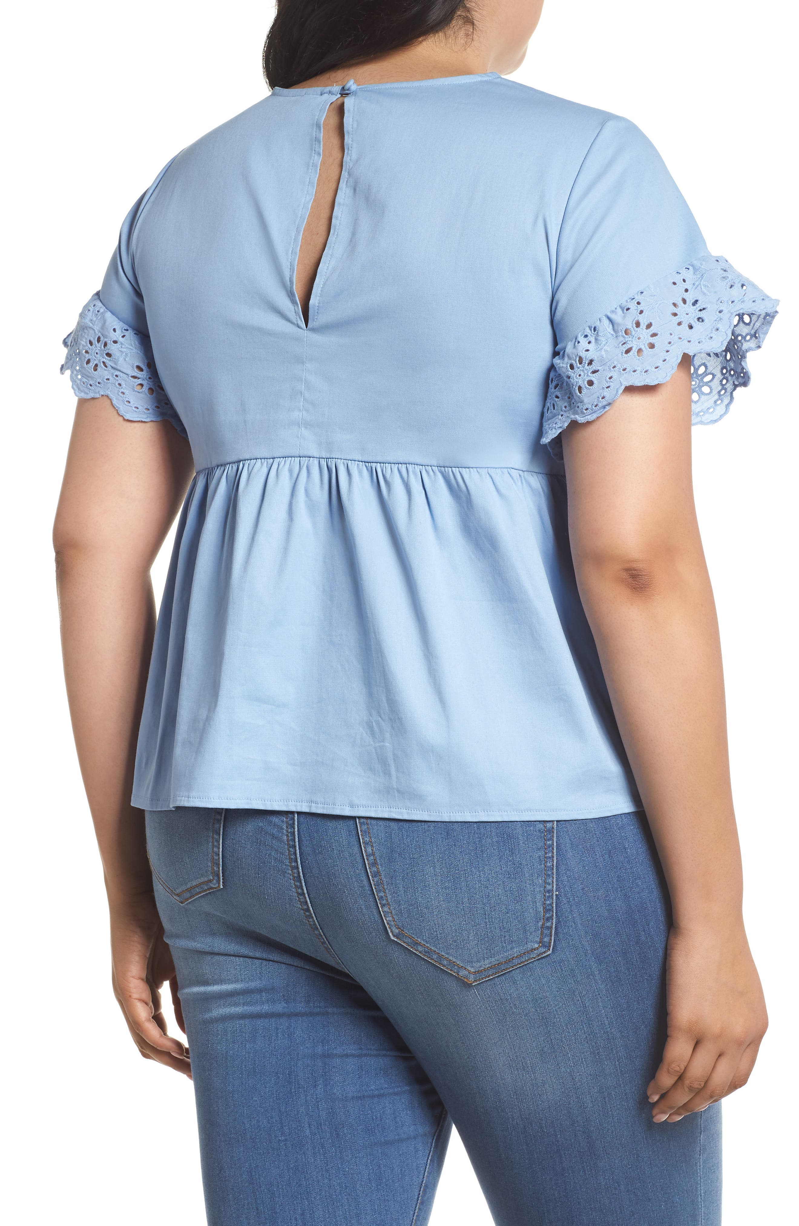 Daisy Trim Swing Top,                             Alternate thumbnail 2, color,                             Blue
