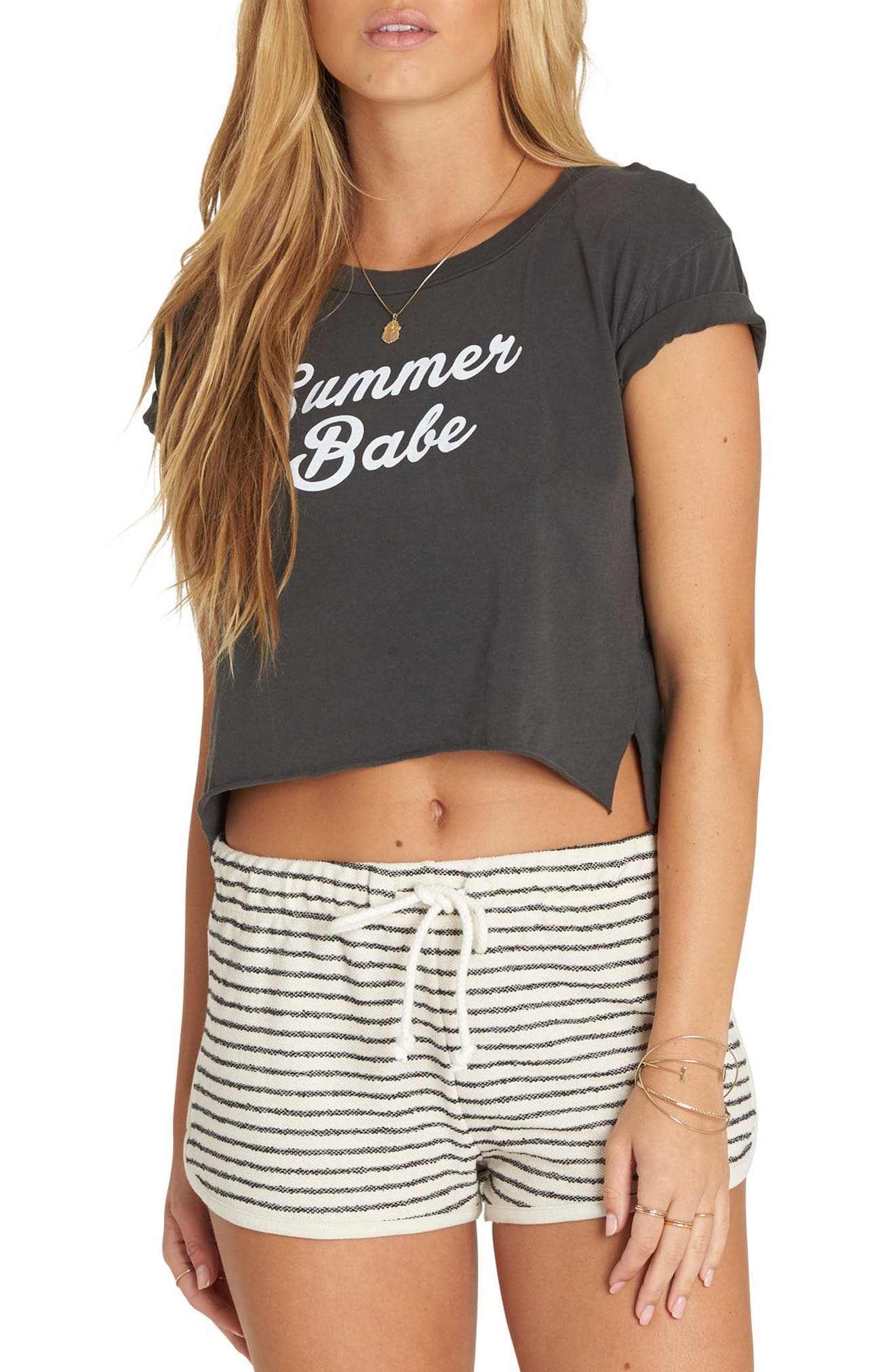 Summer Babe Crop Graphic Tee,                             Main thumbnail 1, color,                             Off Black