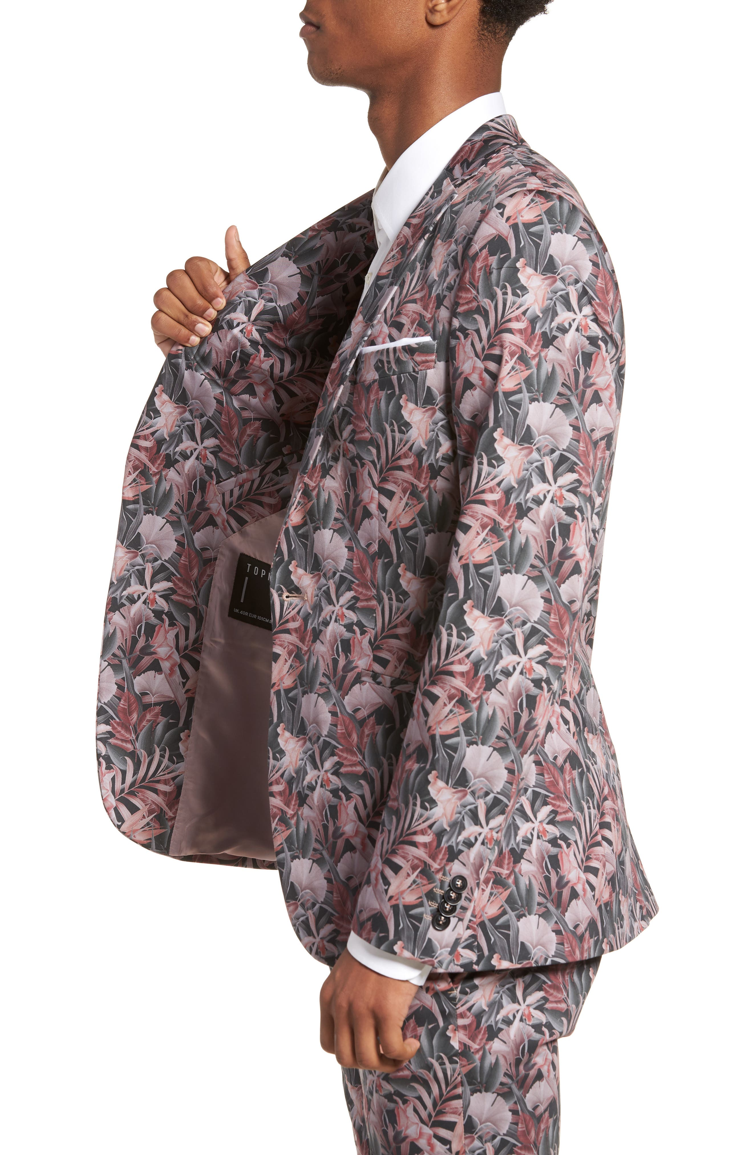 Ultra Skinny Fit Hibiscus Print Suit Jacket,                             Alternate thumbnail 3, color,                             Pink Multi