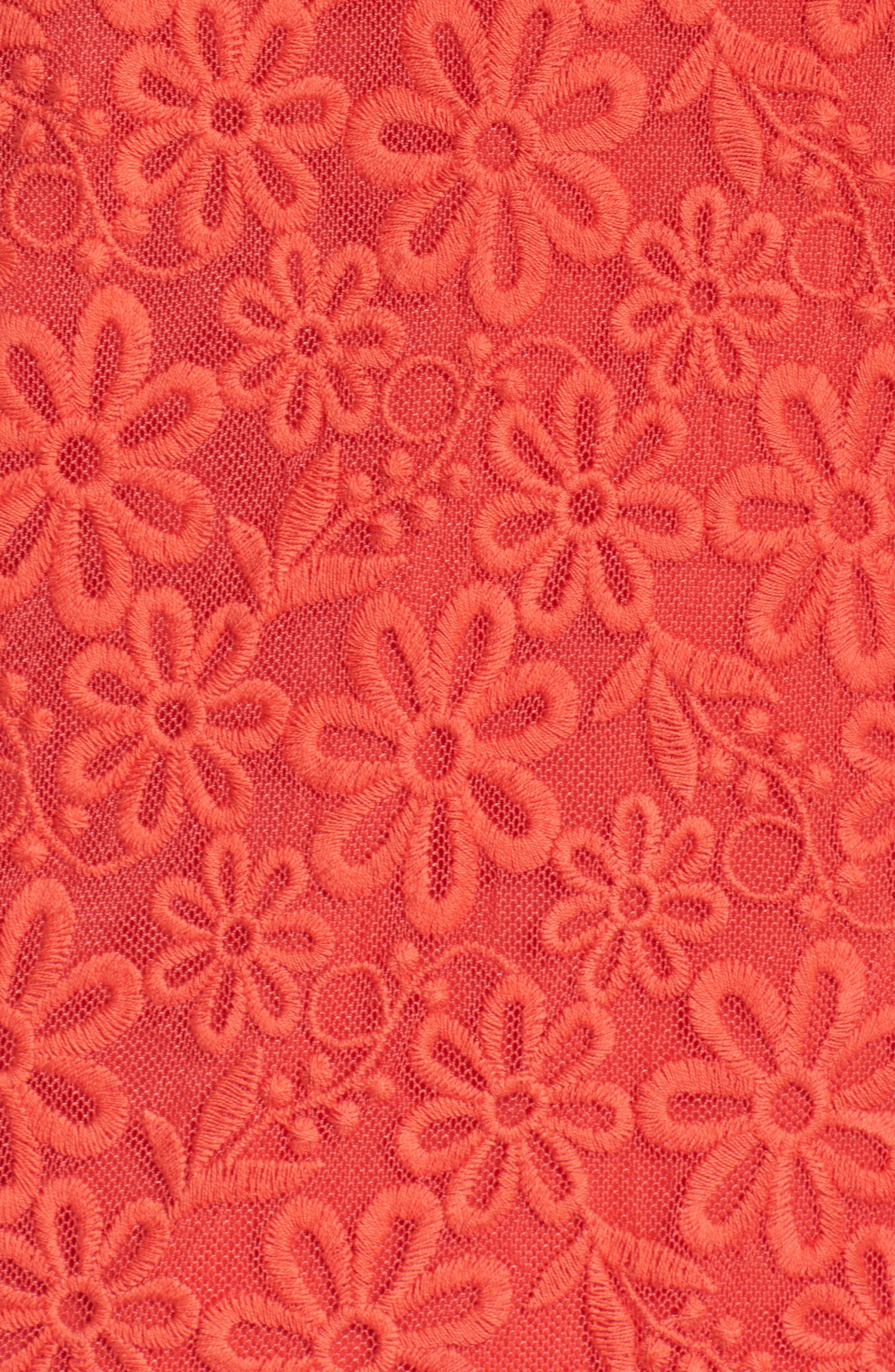 Roseville Cold Shoulder Embroidered Tulle Halter Dress,                             Alternate thumbnail 6, color,                             Lady Bug
