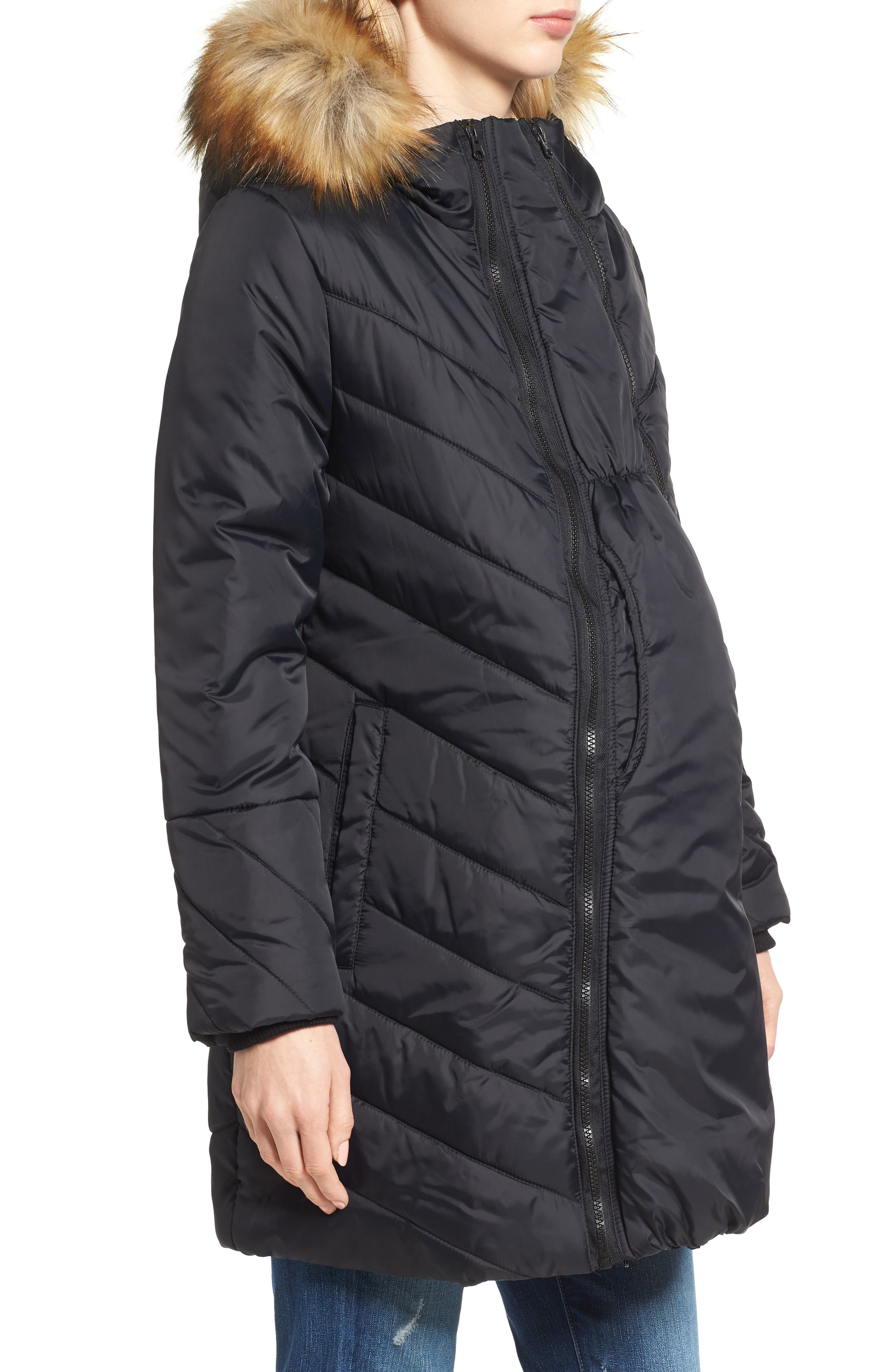Alternate Image 4  - Modern Eternity Faux Fur Convertible Puffer Maternity Jacket